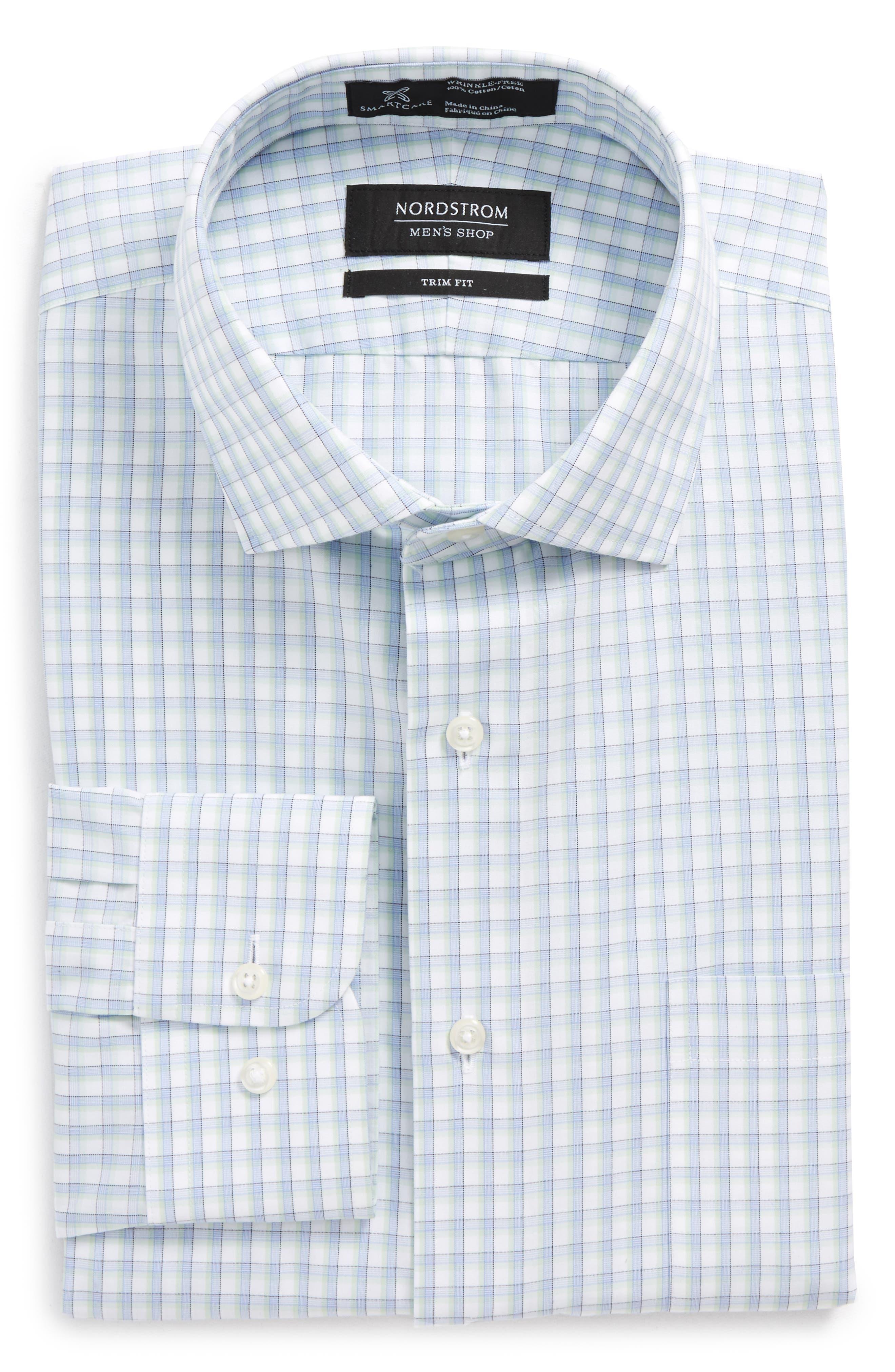 Smartcare<sup>™</sup> Trim Fit Check Dress Shirt,                         Main,                         color, Green Screen