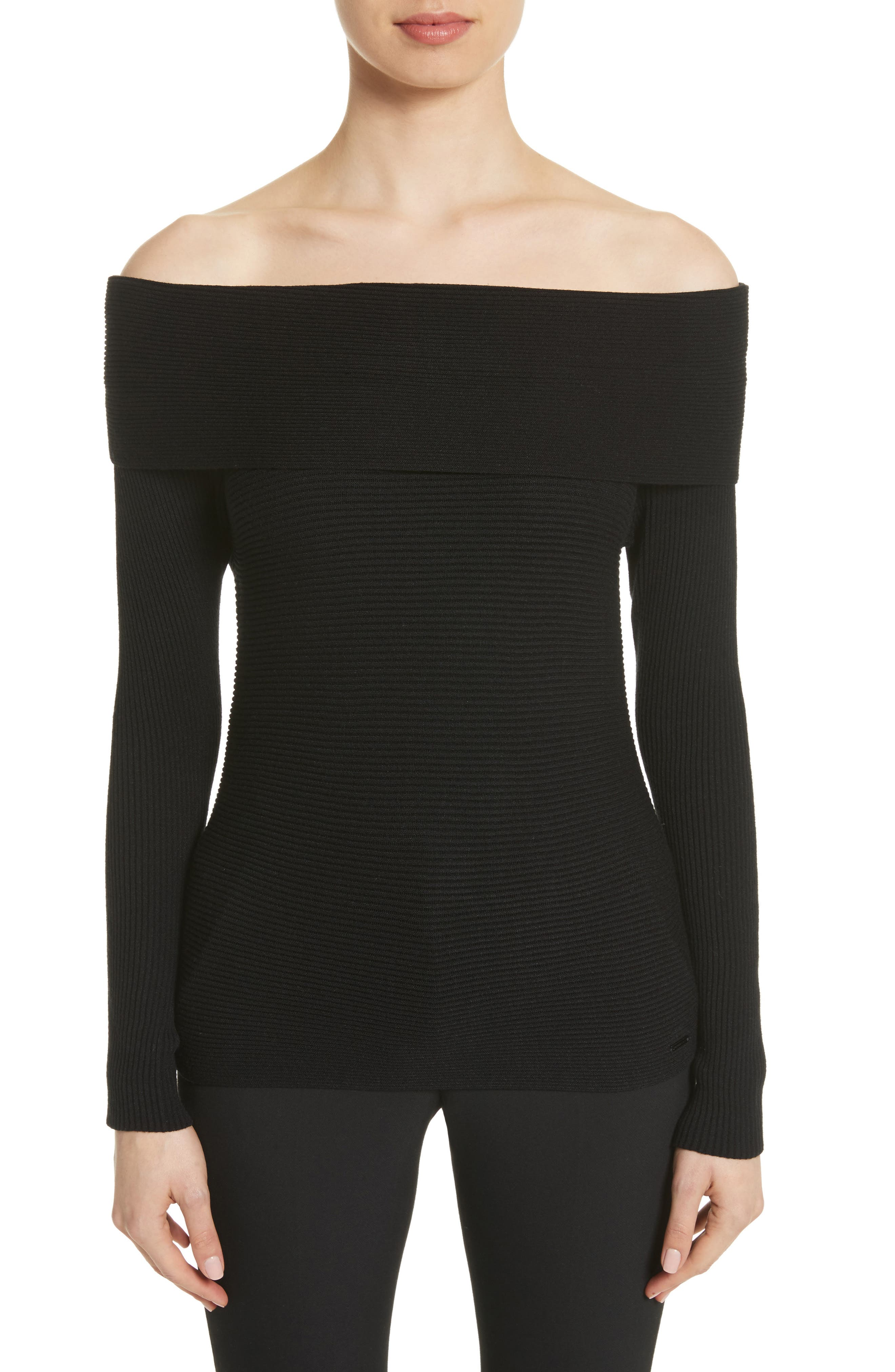 Alternate Image 1 Selected - Armani Collezioni Off the Shoulder Sweater