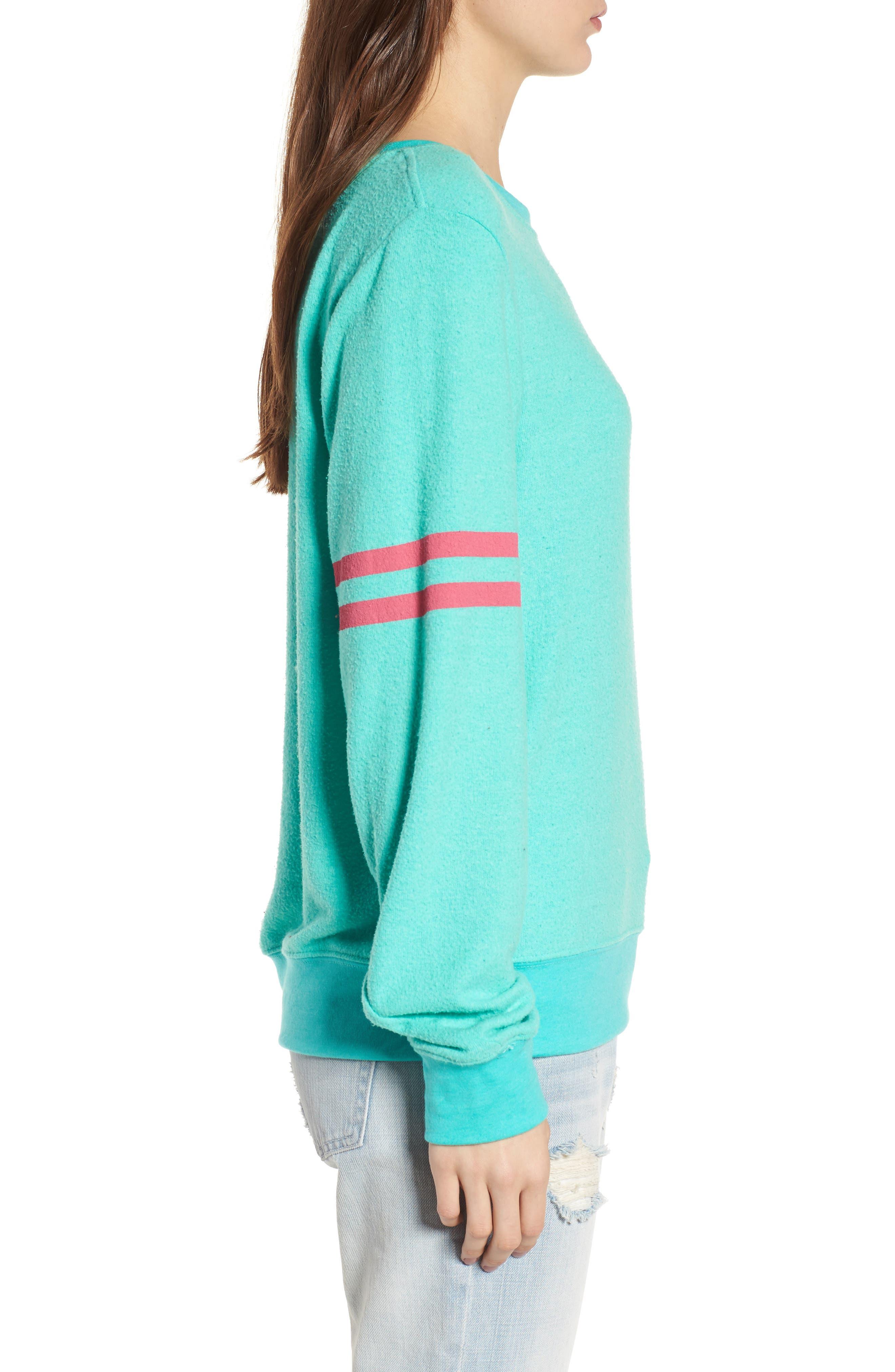 Stripe Sweatshirt,                             Alternate thumbnail 3, color,                             Mint Chip