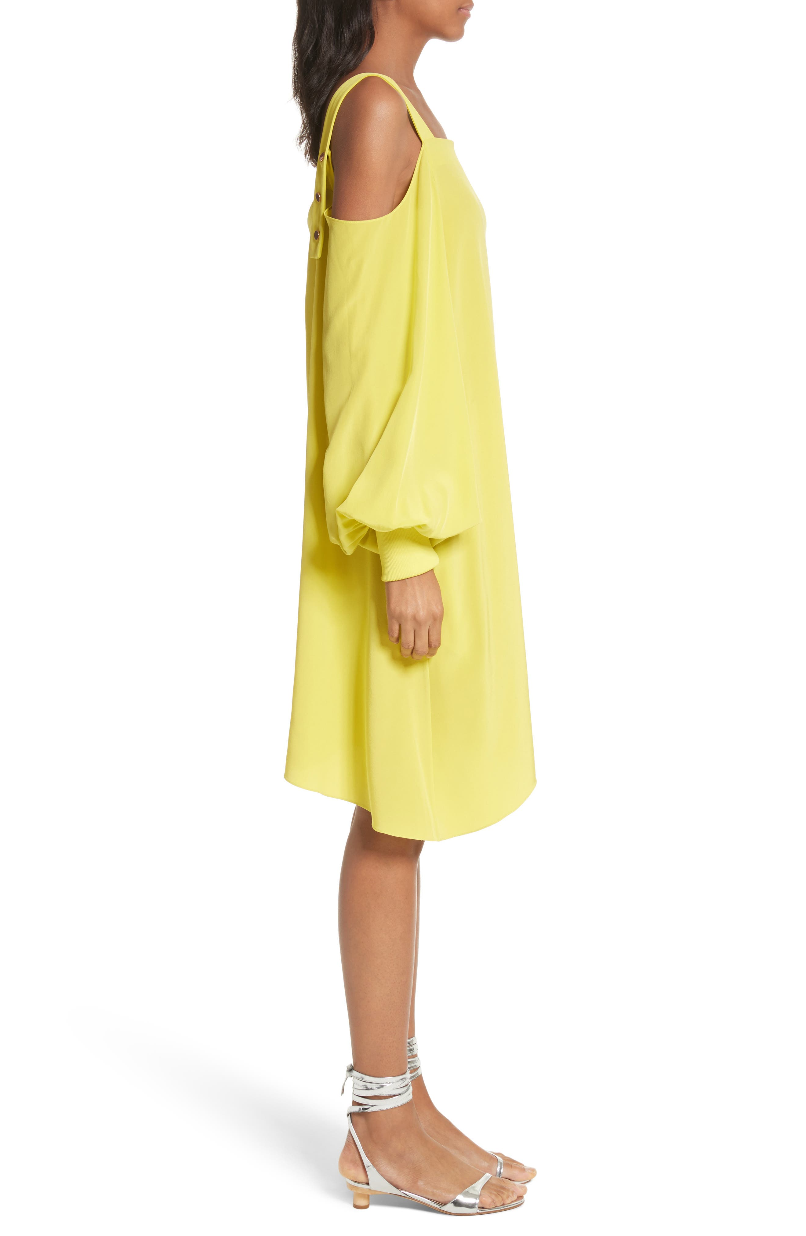 Strappy Back Silk Dress,                             Alternate thumbnail 3, color,                             Vibrant Yellow