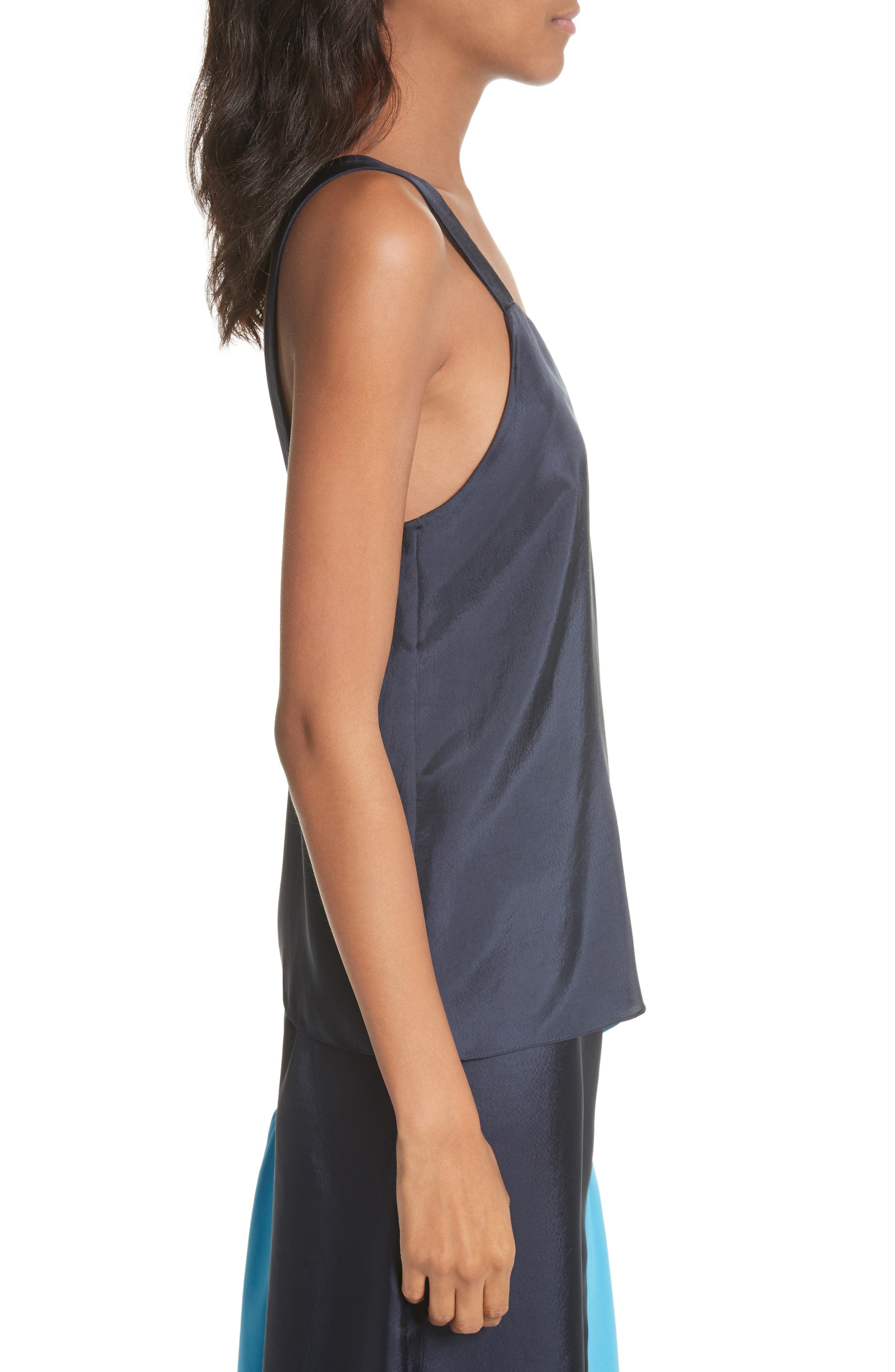 Shirred Colorblock Camisole,                             Alternate thumbnail 3, color,                             Navy/ Blue Multi