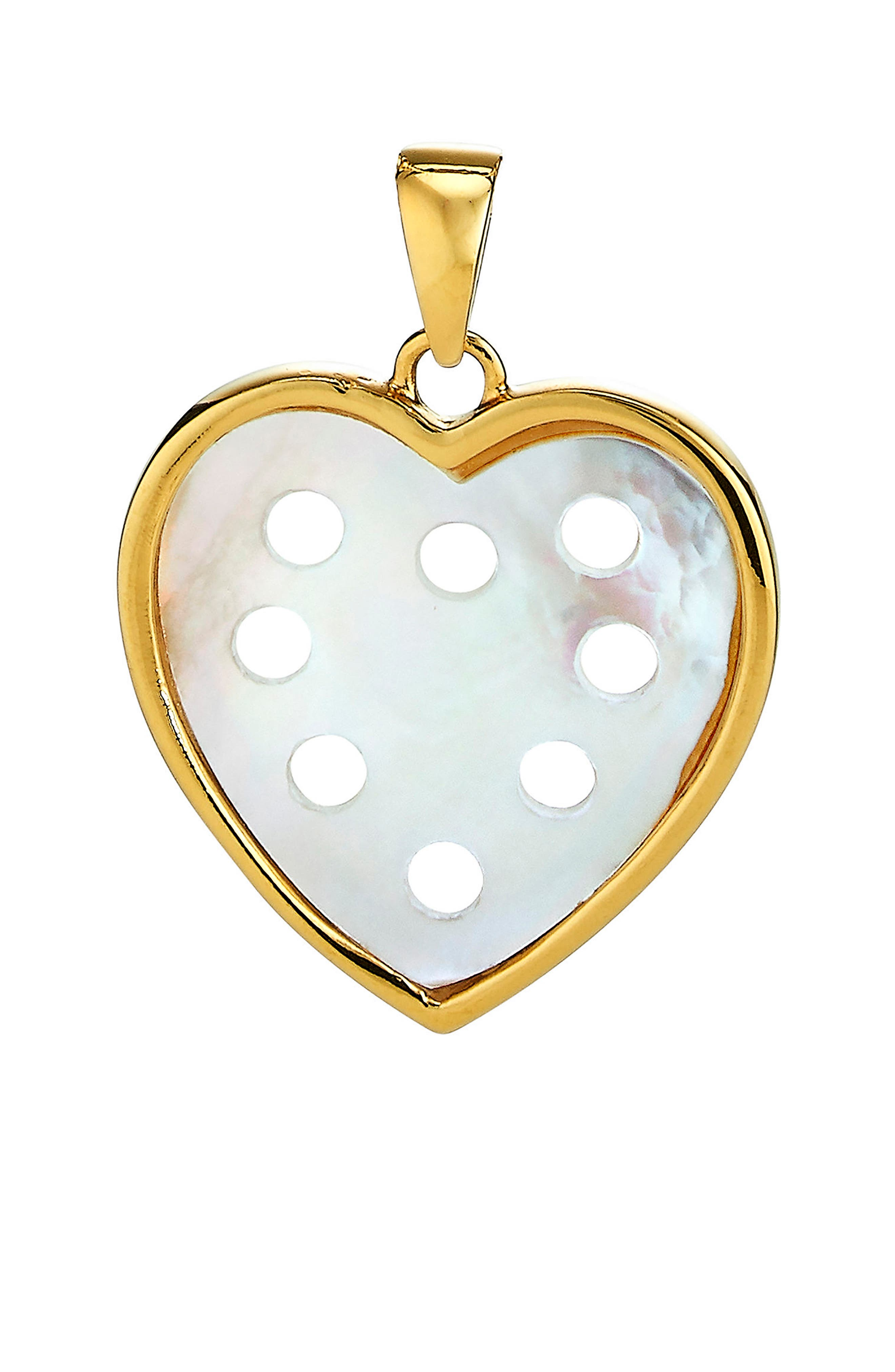 Small Mother-of-Pearl Heart Charm,                             Main thumbnail 1, color,                             Gold - Mother Of Pearl