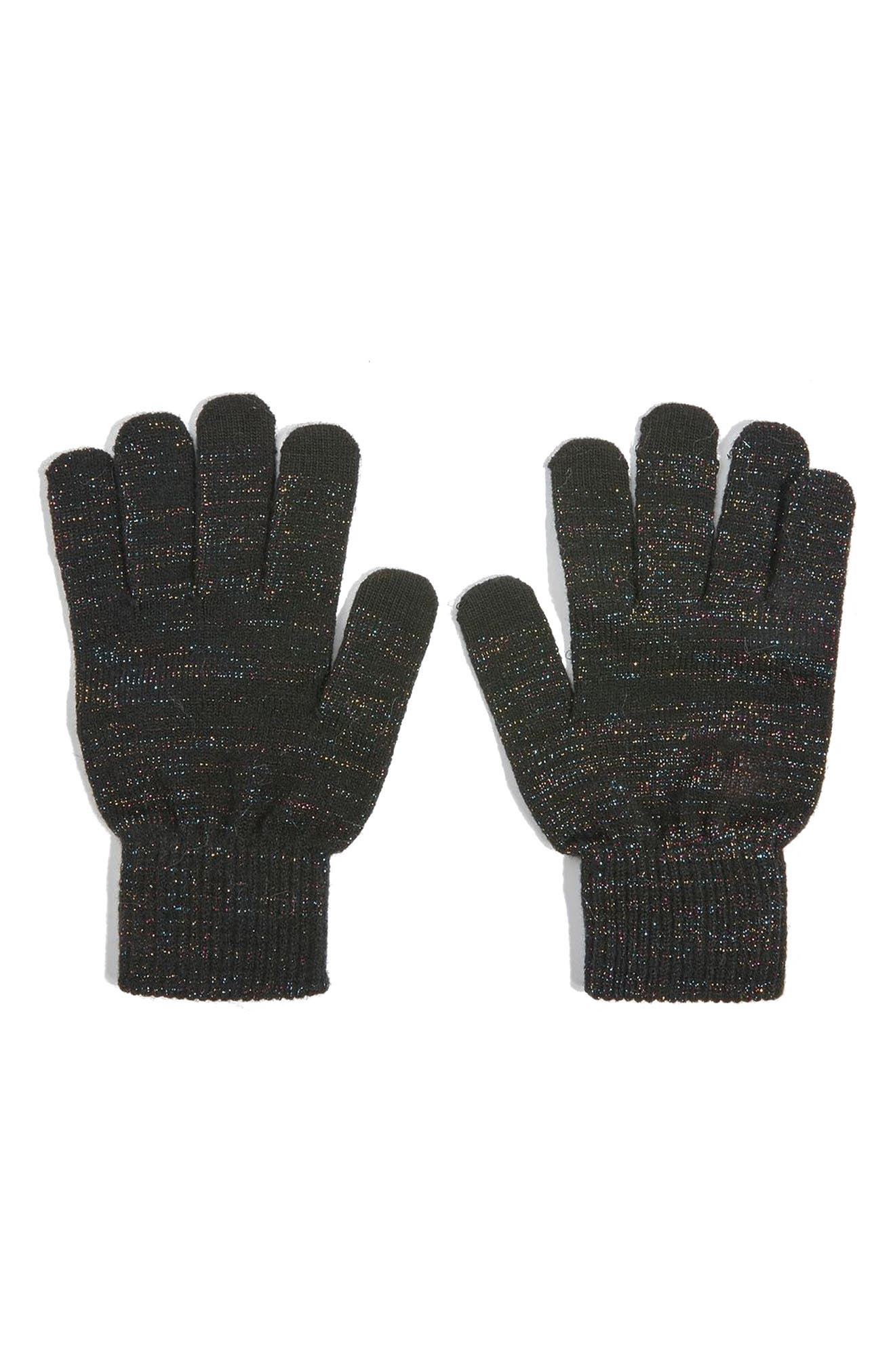 Core Glitter Gloves,                             Alternate thumbnail 2, color,                             Black