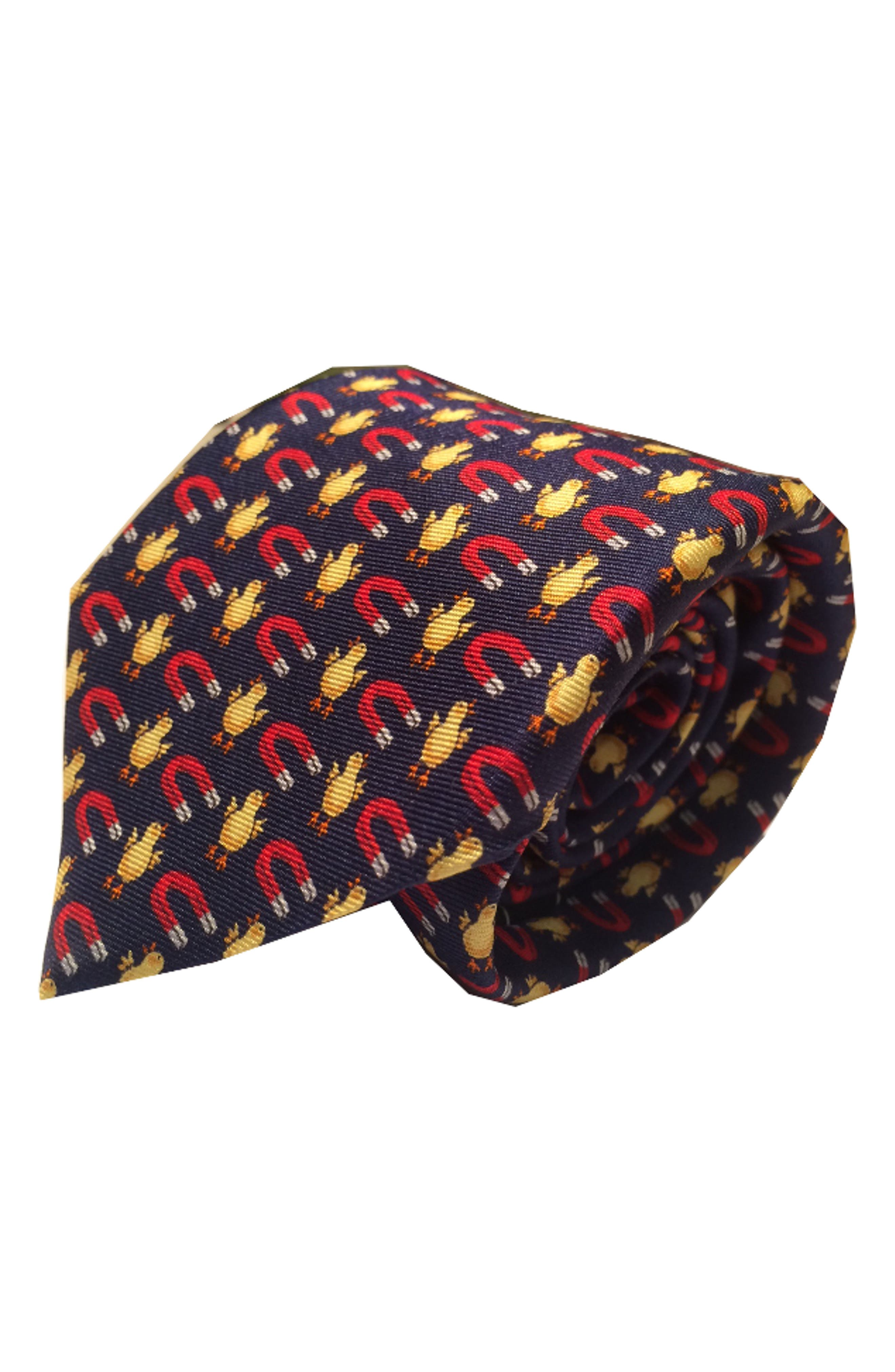 Chick Magnet Silk Tie,                         Main,                         color, Navy