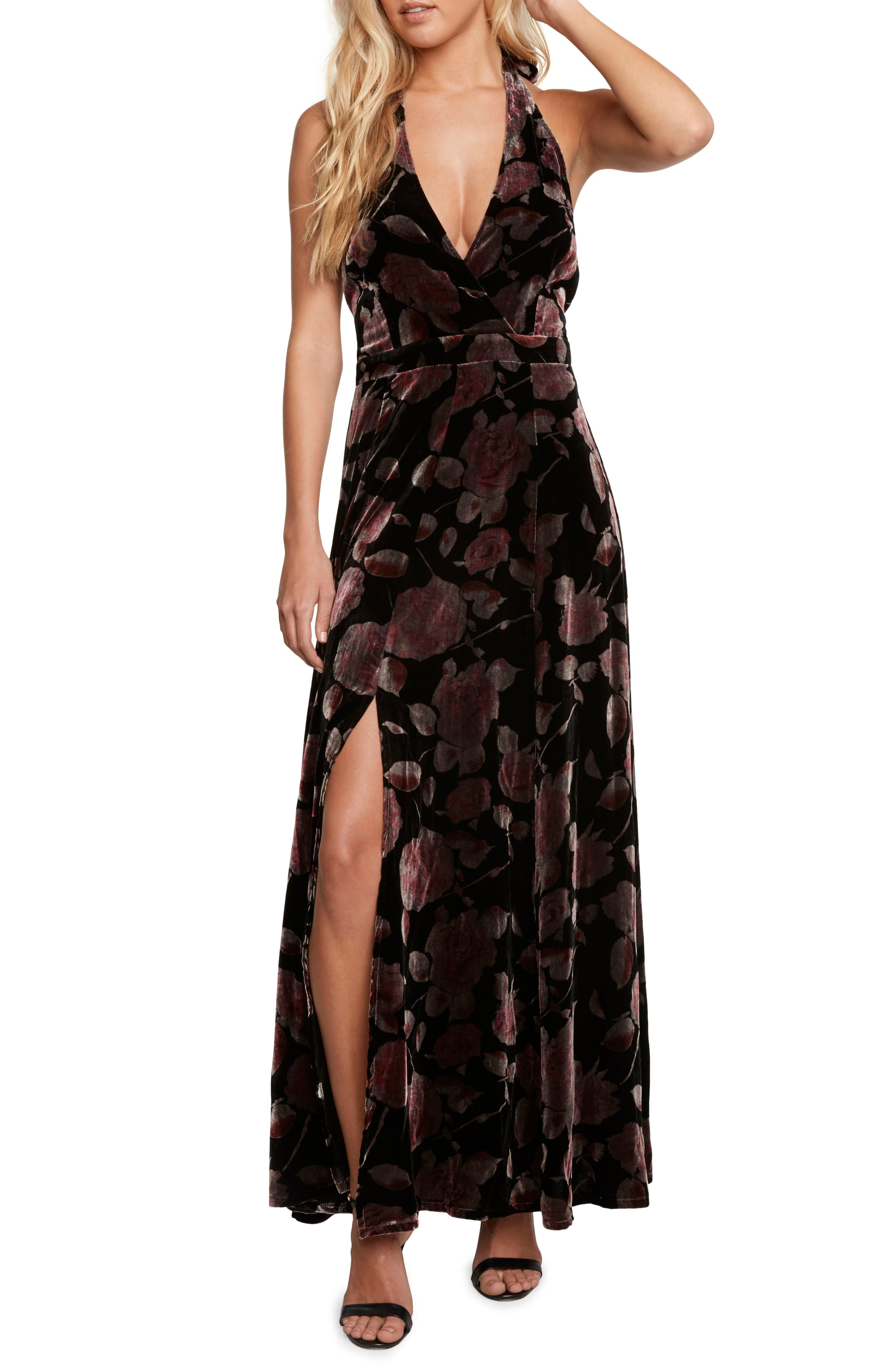 Velvet Halter Maxi Dress,                         Main,                         color, Black