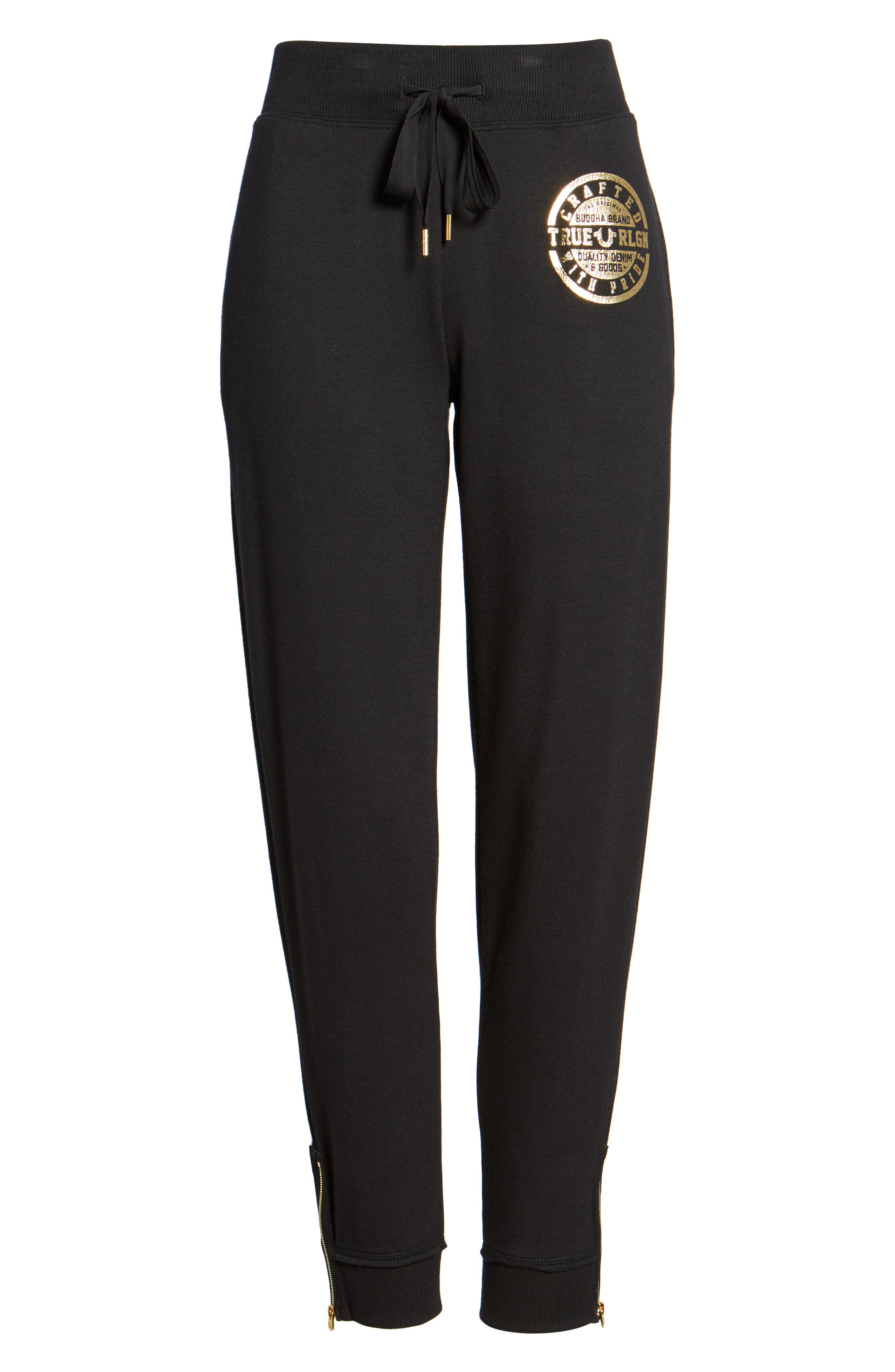 Zip Sweatpants,                             Alternate thumbnail 7, color,                             Black