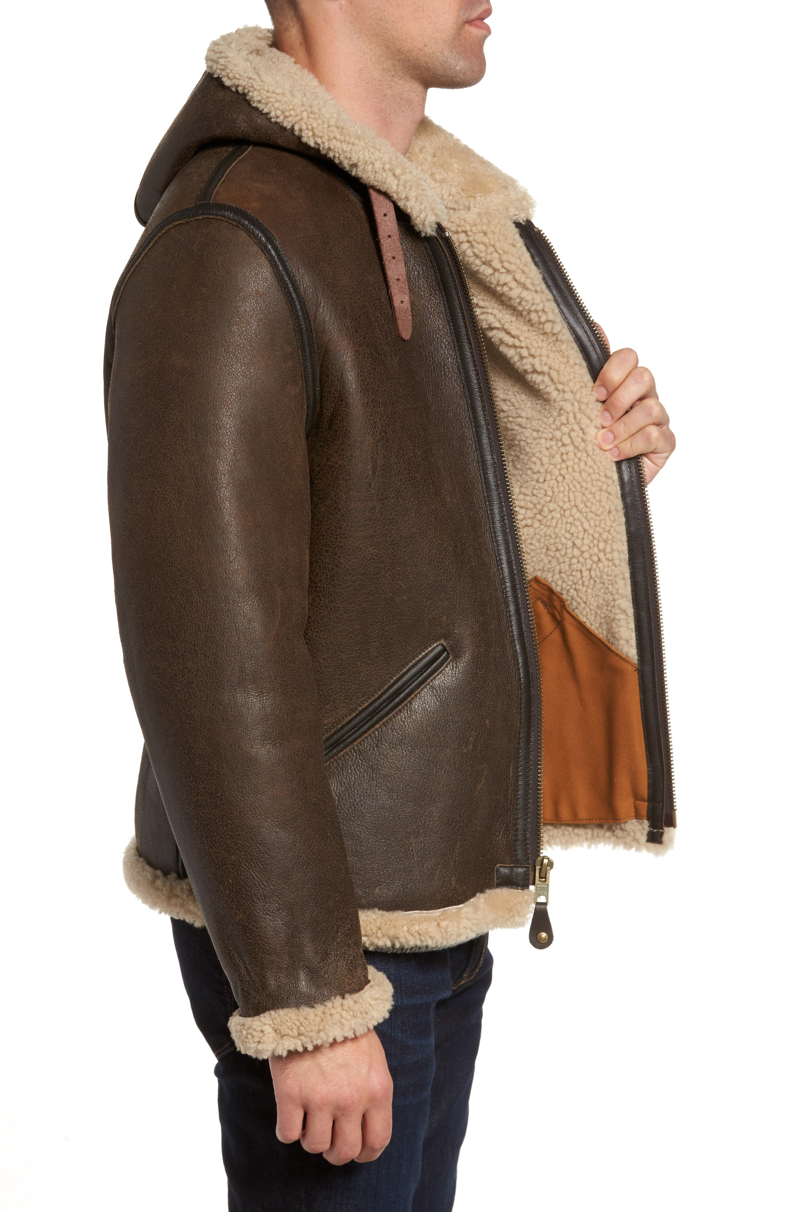 Genuine Shearling Vintage B-6 Hooded Bomber Jacket,                             Alternate thumbnail 3, color,                             Brown