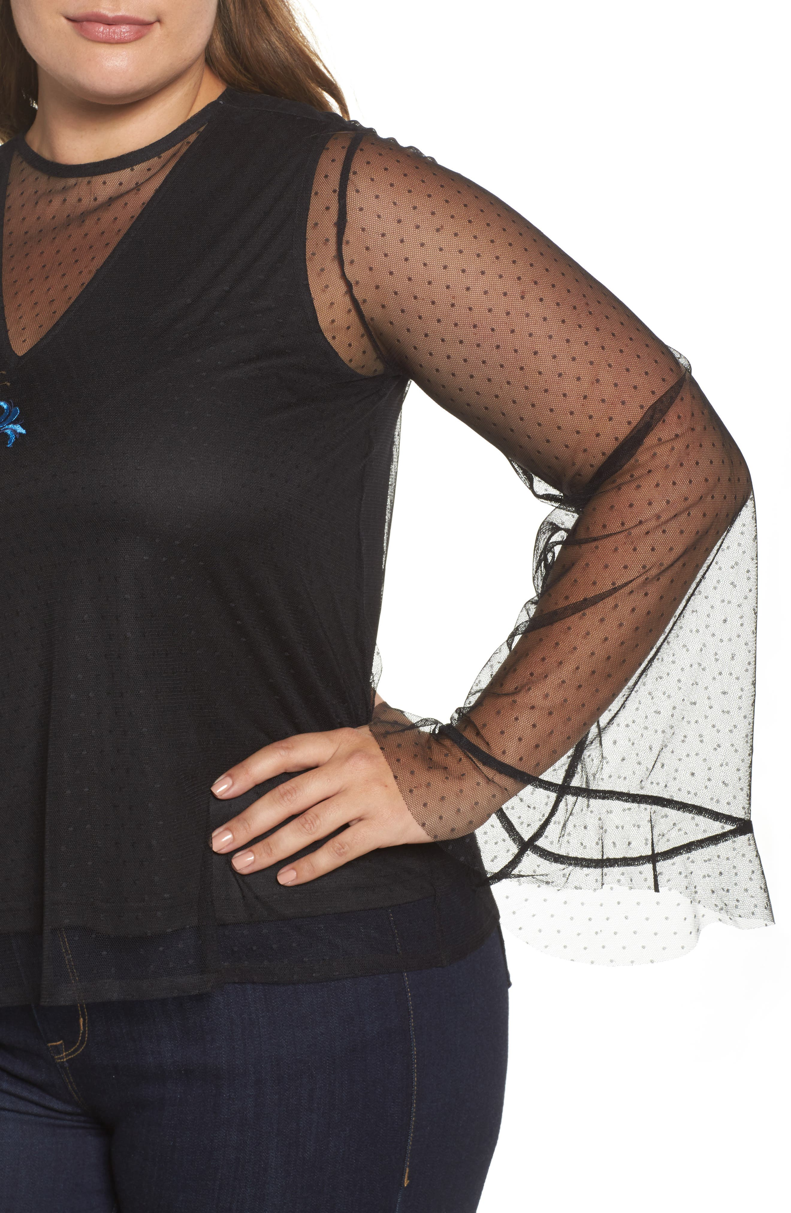Alternate Image 4  - LOST INK Embroidered Swing Top (Plus Size)