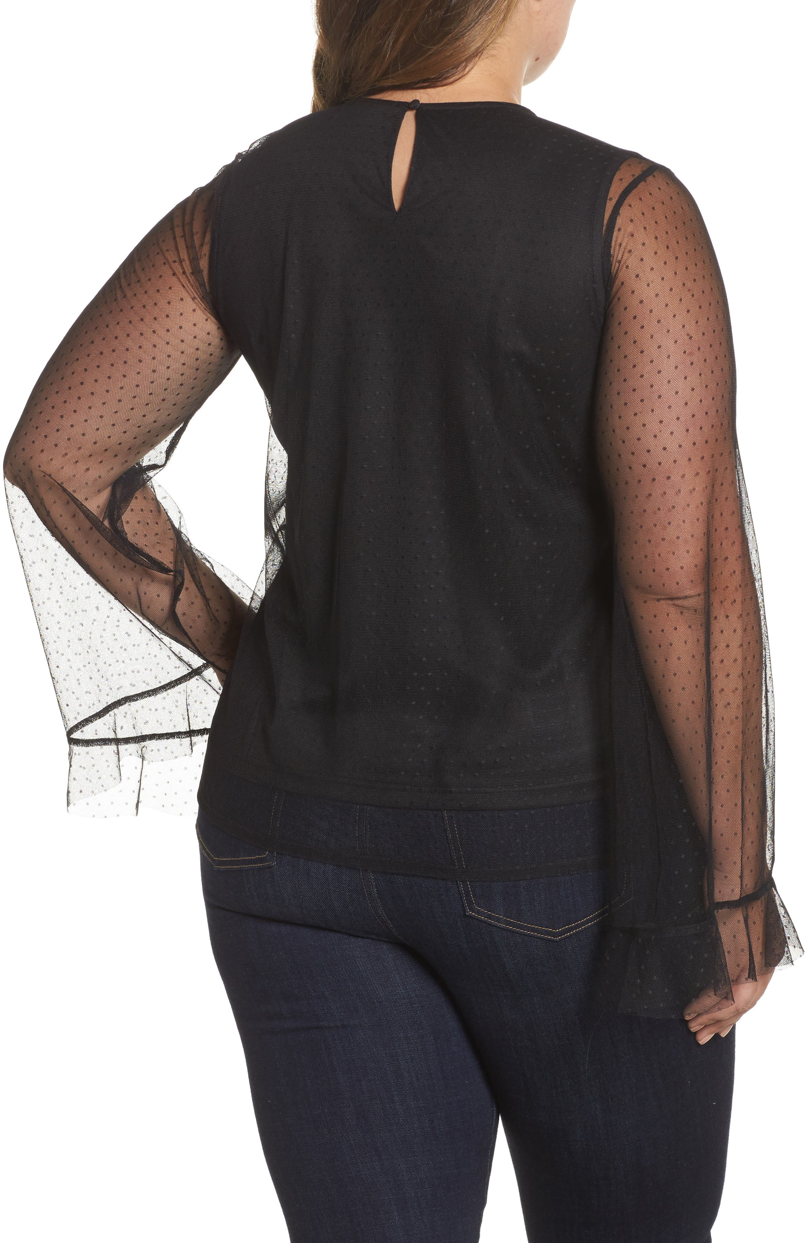 Alternate Image 2  - LOST INK Embroidered Swing Top (Plus Size)