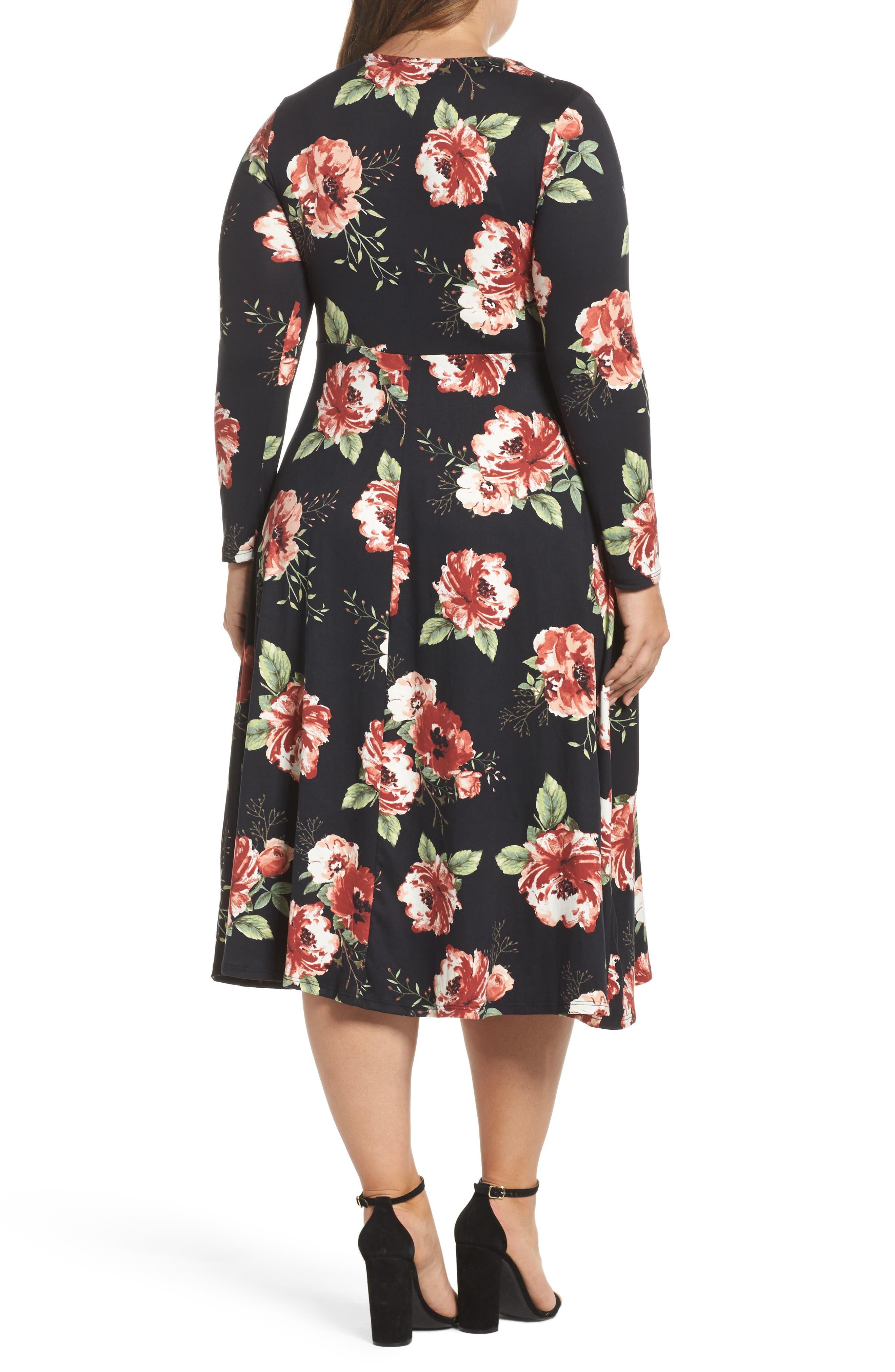 Plunging Floral Midi Dress,                             Alternate thumbnail 2, color,                             Black