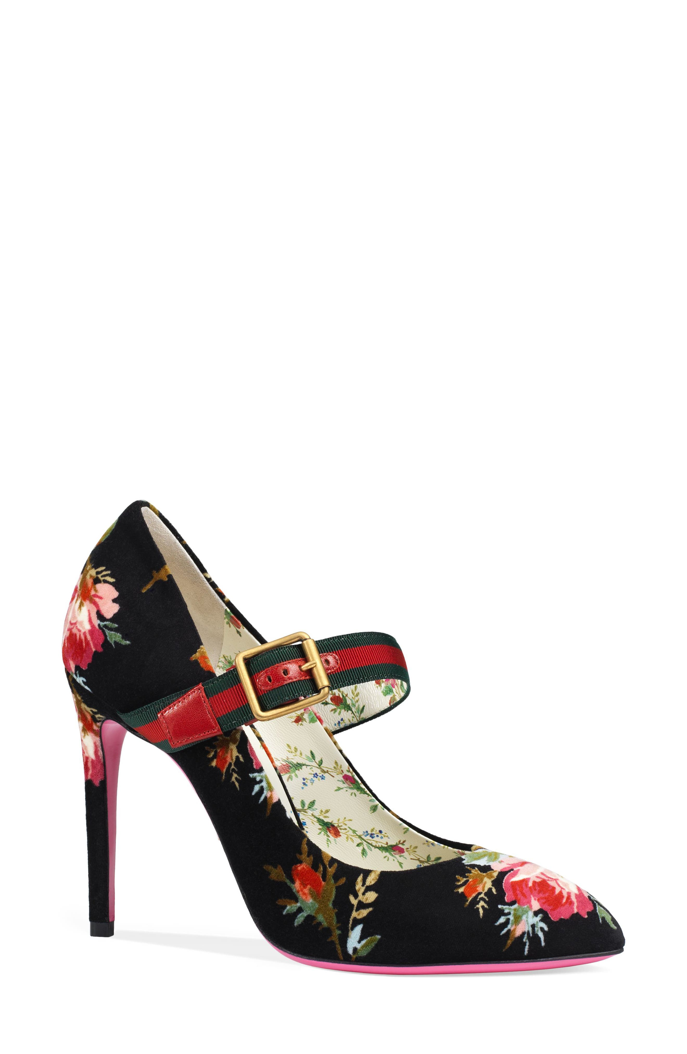 Alternate Image 1 Selected - Gucci Sylvie Pointy Toe Mary Jane Pump (Women)