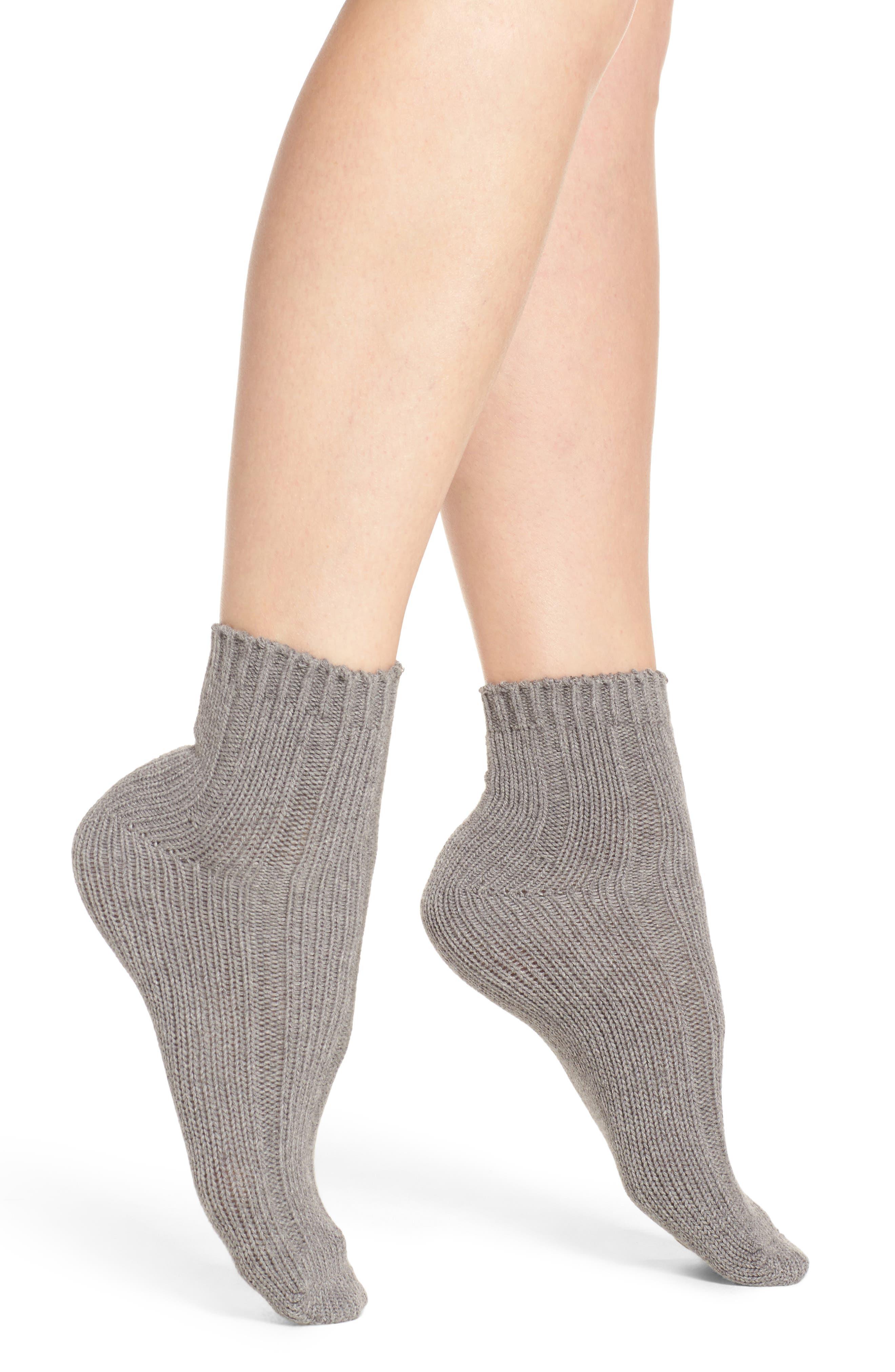 Variegated Rib Crew Socks,                             Main thumbnail 1, color,                             Grey