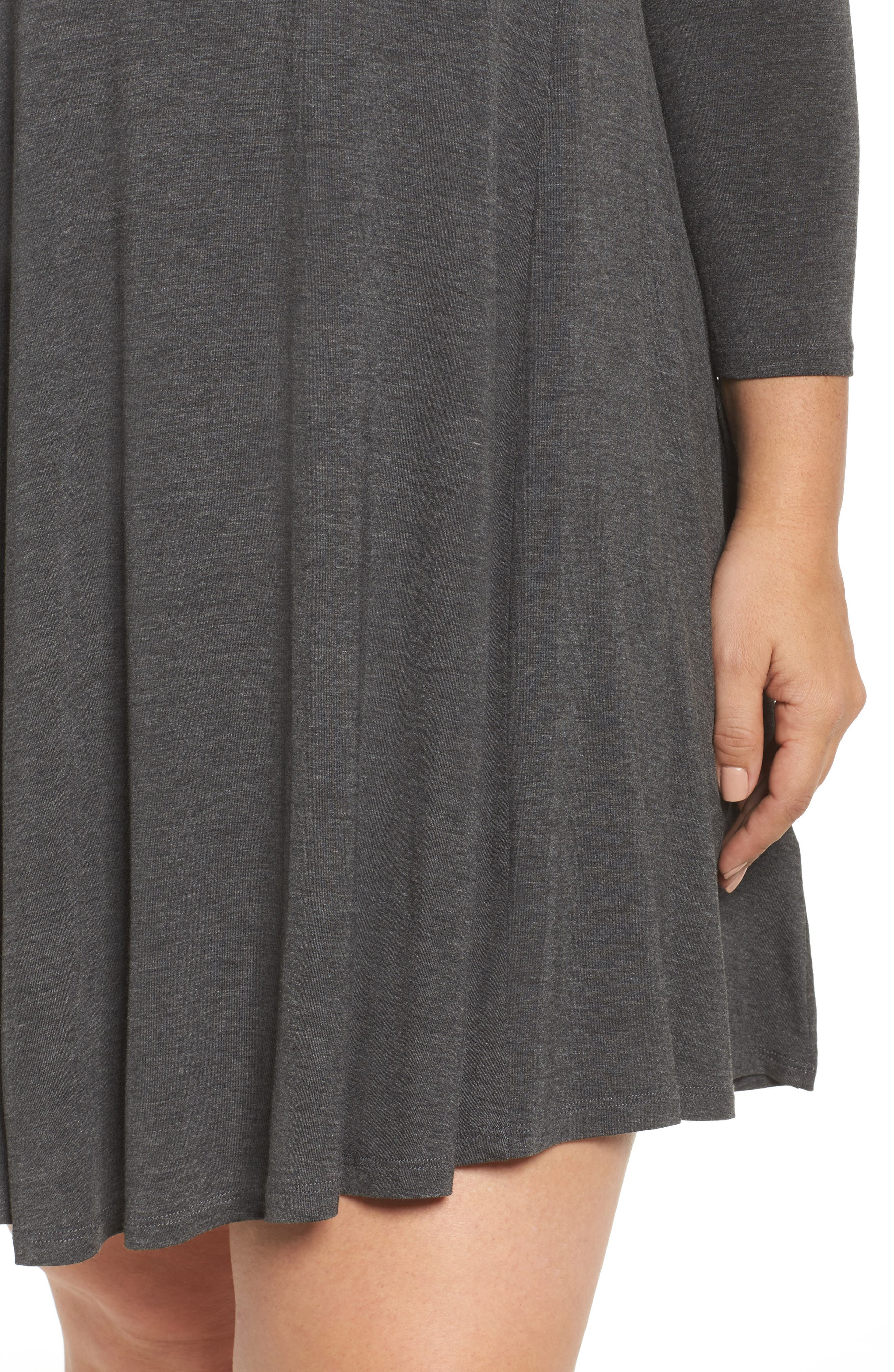 Swing Dress,                             Alternate thumbnail 4, color,                             Charcoal Grey