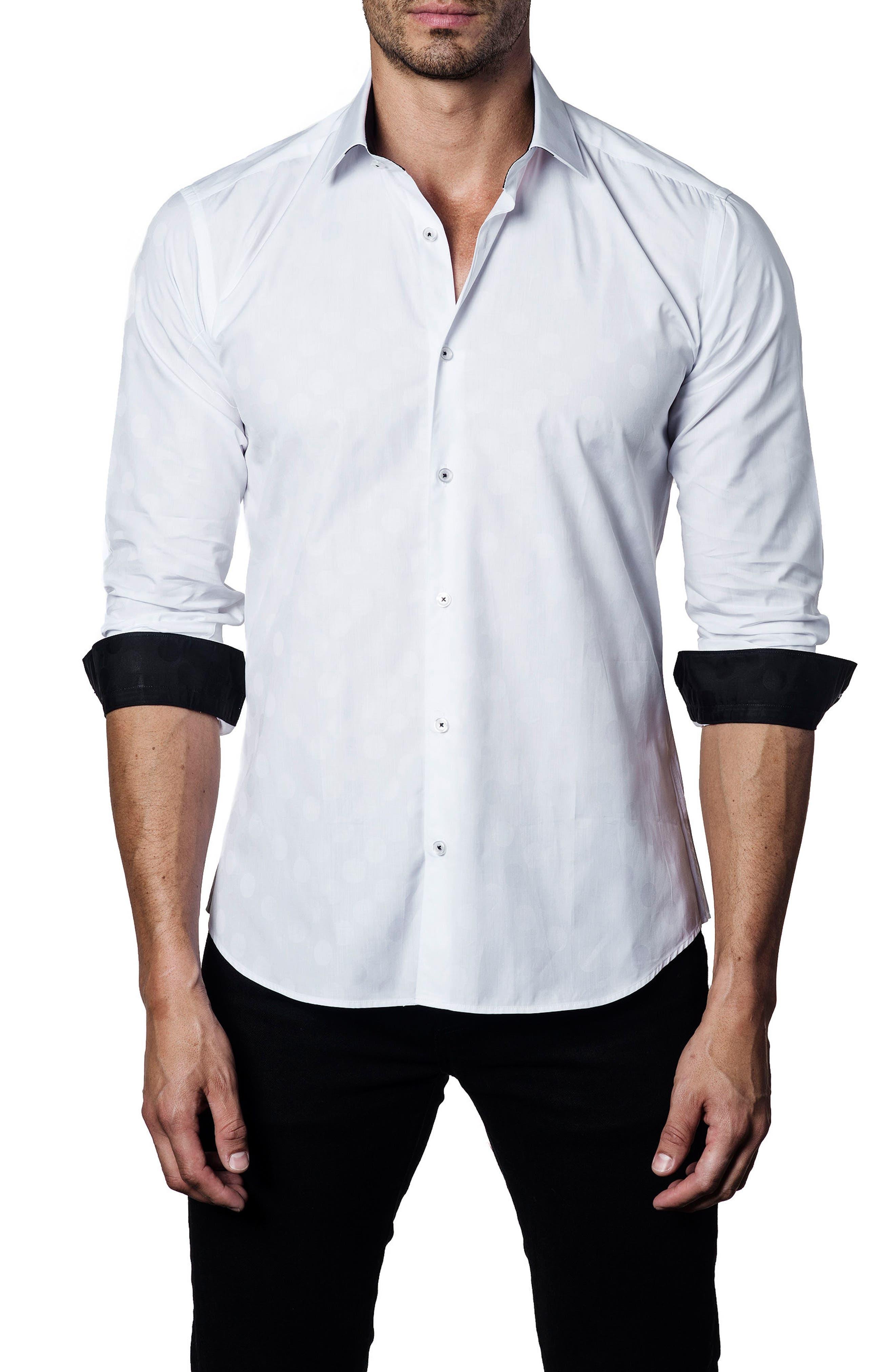 Solid Sport Shirt,                             Main thumbnail 1, color,                             White Polka Dot Jacquard