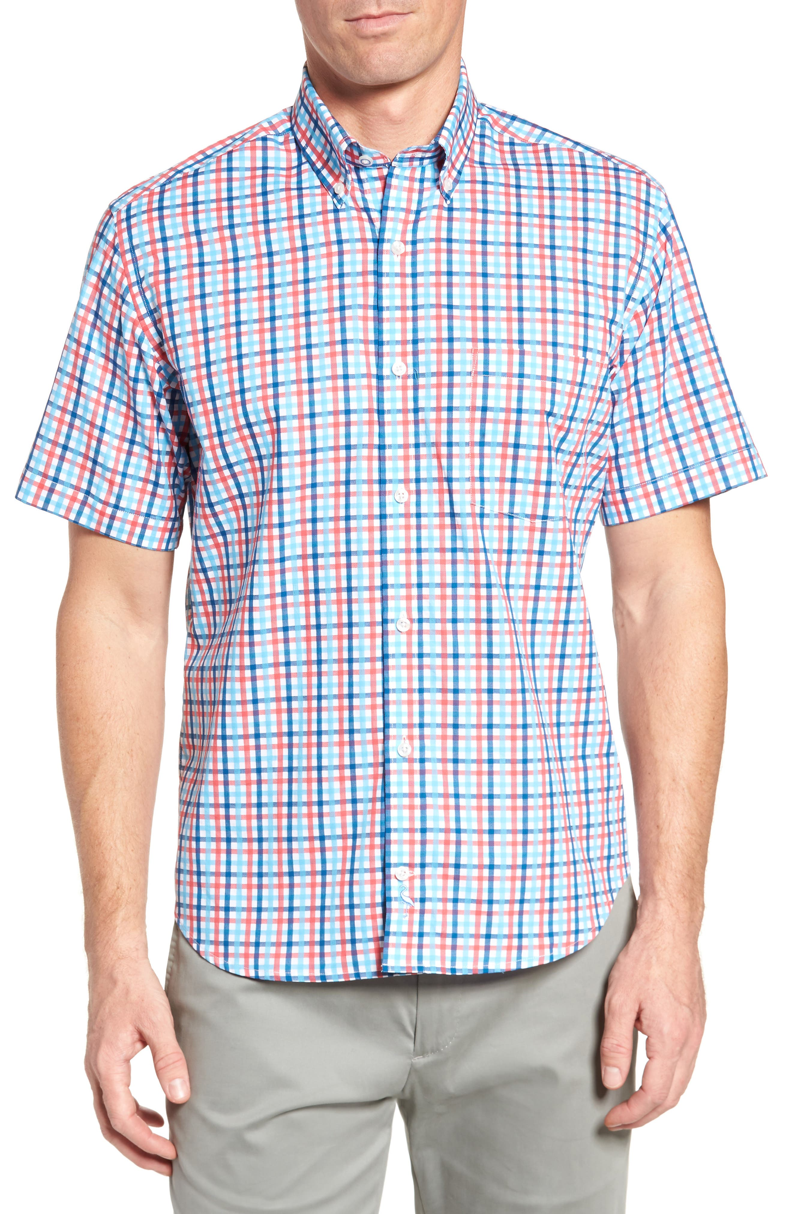 Scott Regular Fit Plaid Sport Shirt,                             Main thumbnail 1, color,                             Coral