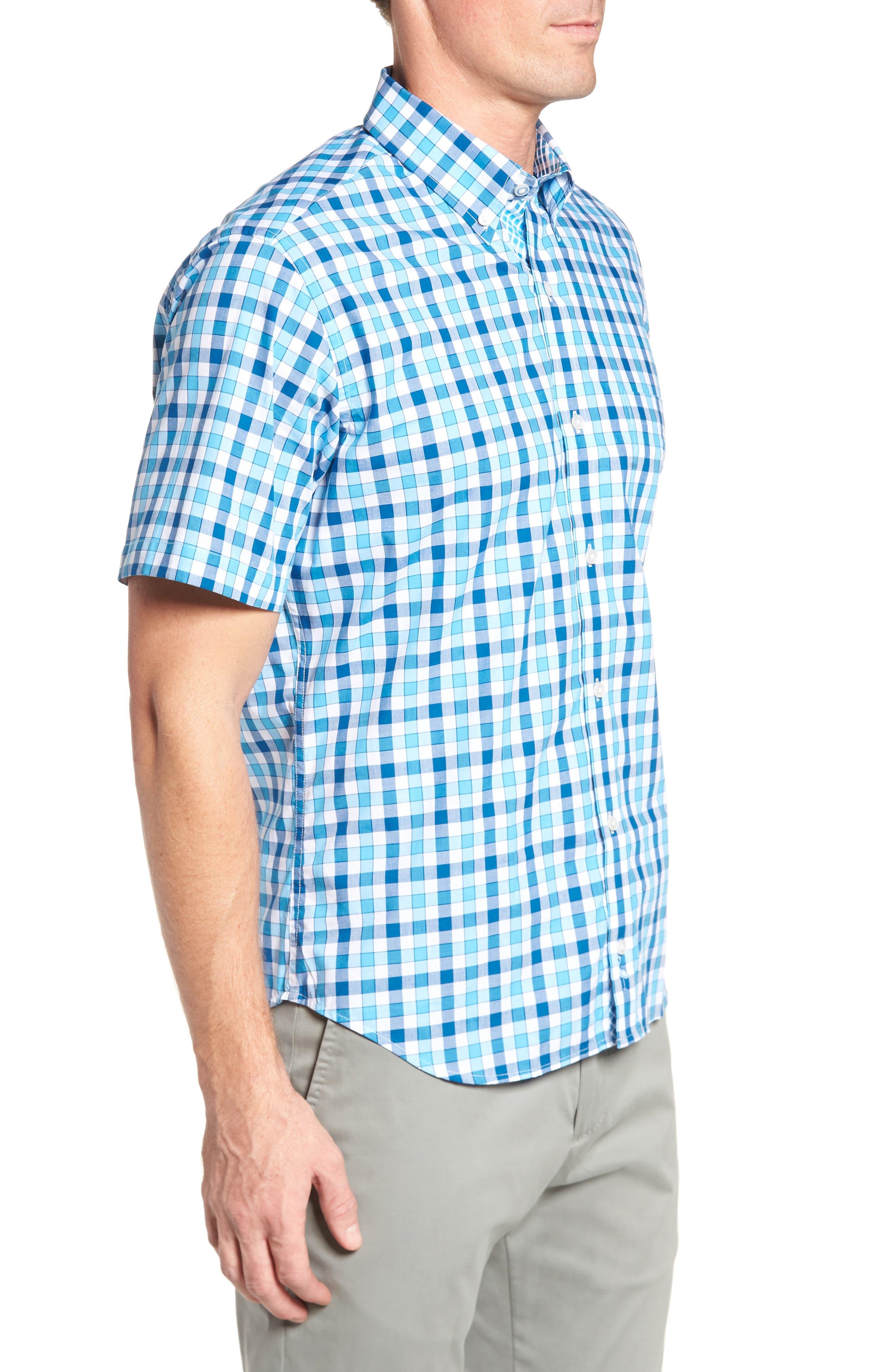 West We Go Regular Fit Plaid Sport Shirt,                             Alternate thumbnail 3, color,                             Aqua