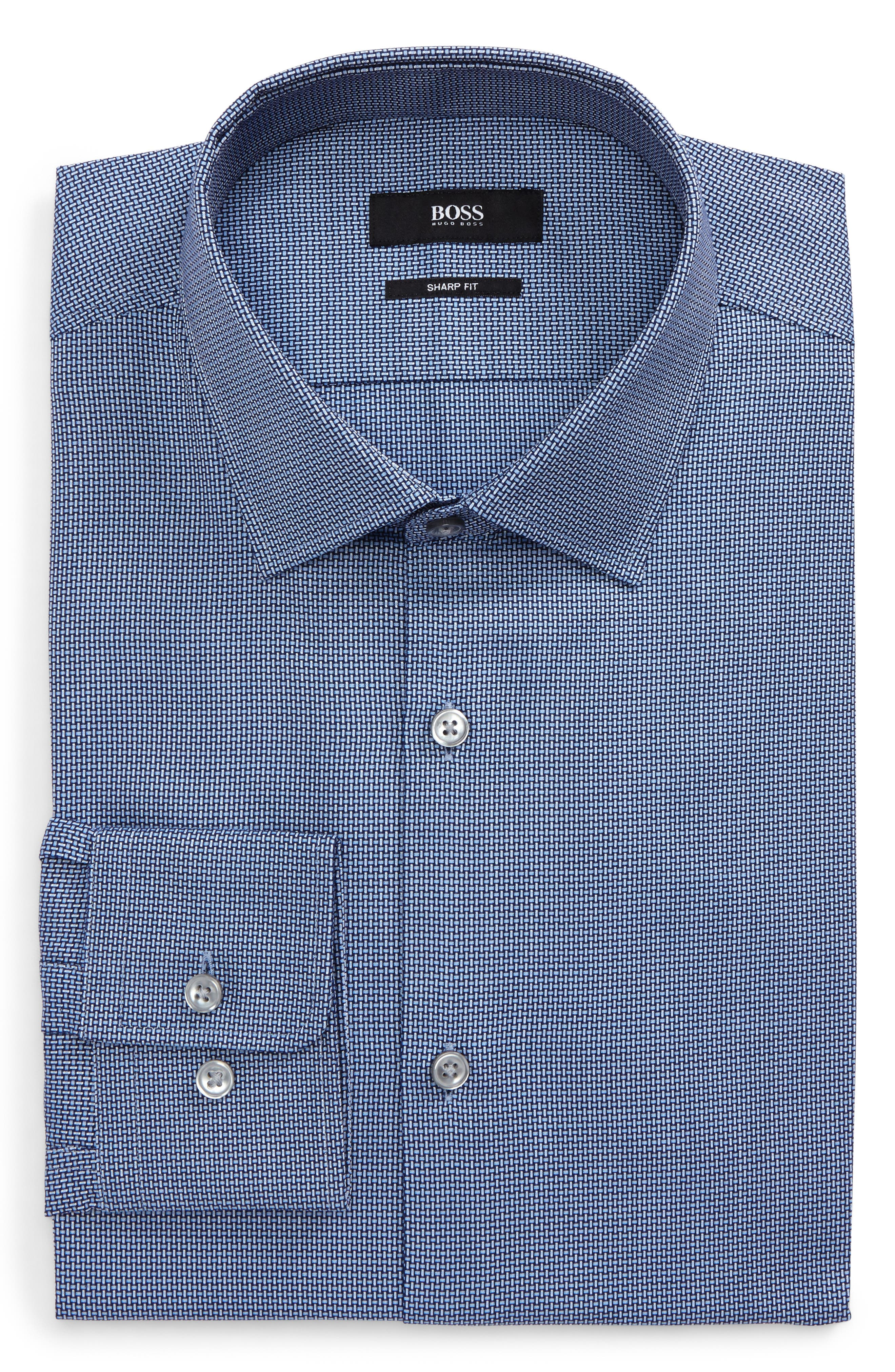 Marley Sharp Fit Solid Dress Shirt,                         Main,                         color, Navy