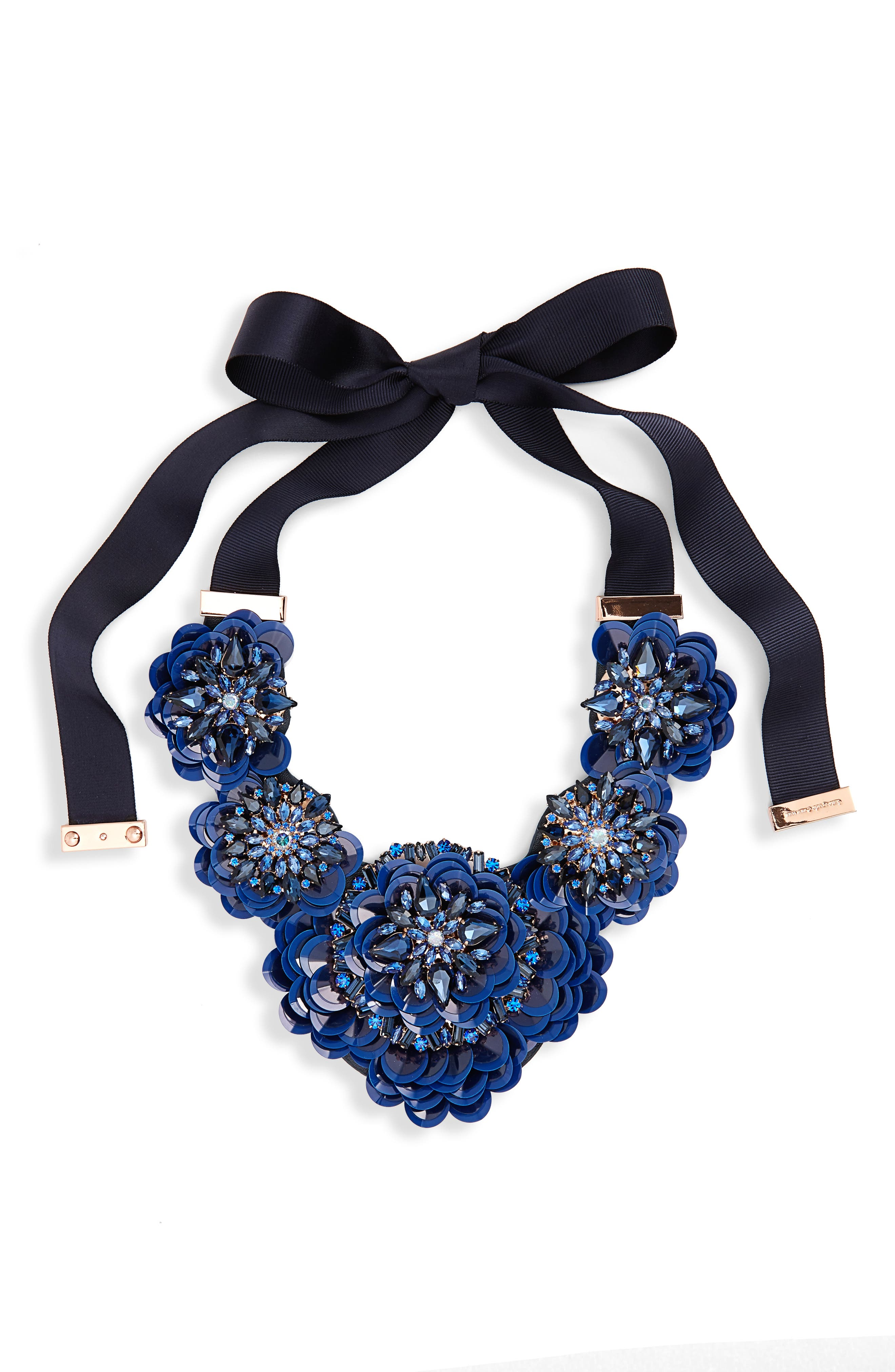 snowy nights sequin statement necklace,                         Main,                         color, Navy Multi