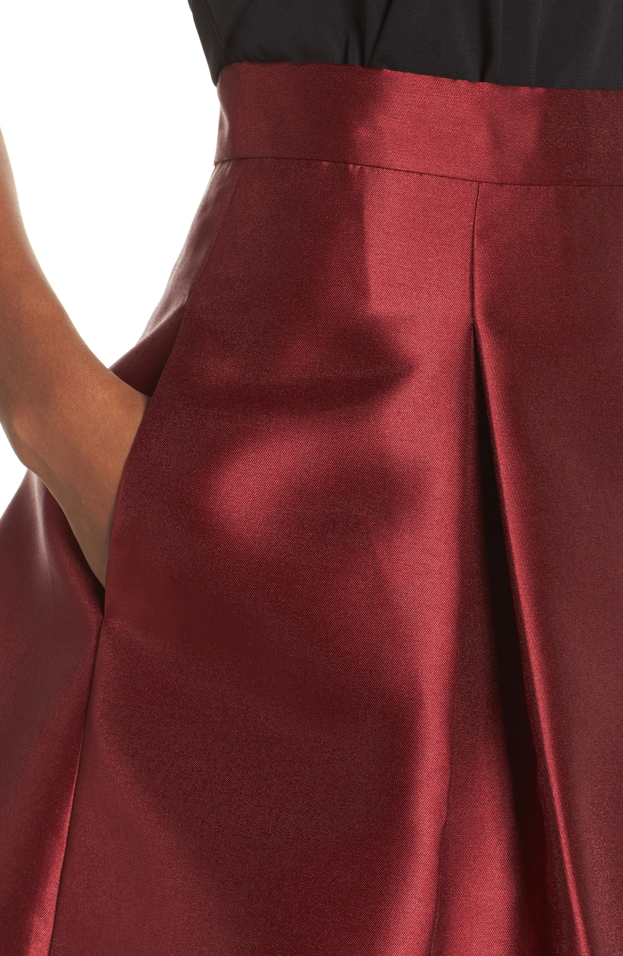 Pleated Mikado Skirt,                             Alternate thumbnail 5, color,                             Red