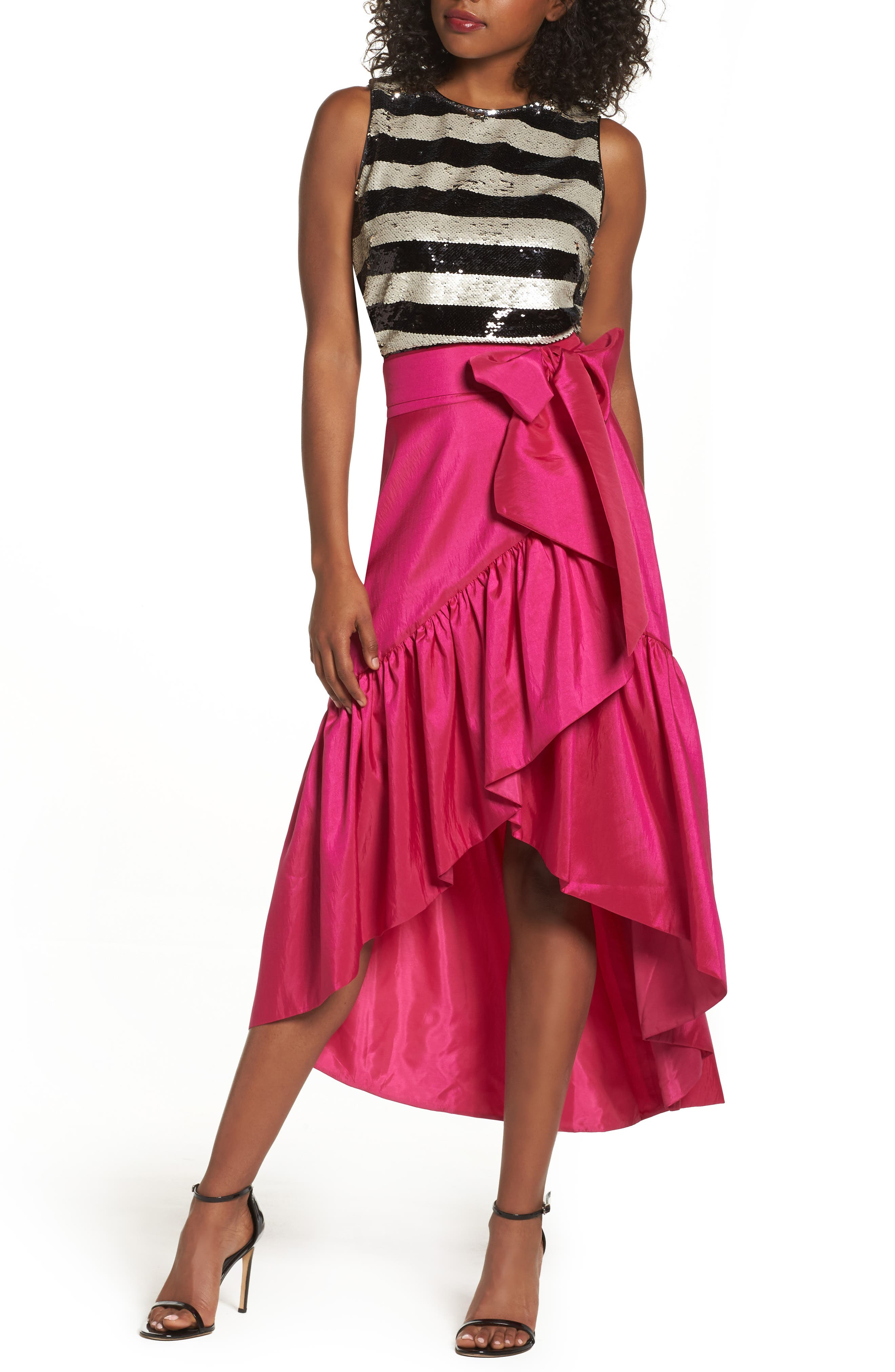 Eliza J Ruffled Faux Wrap Skirt