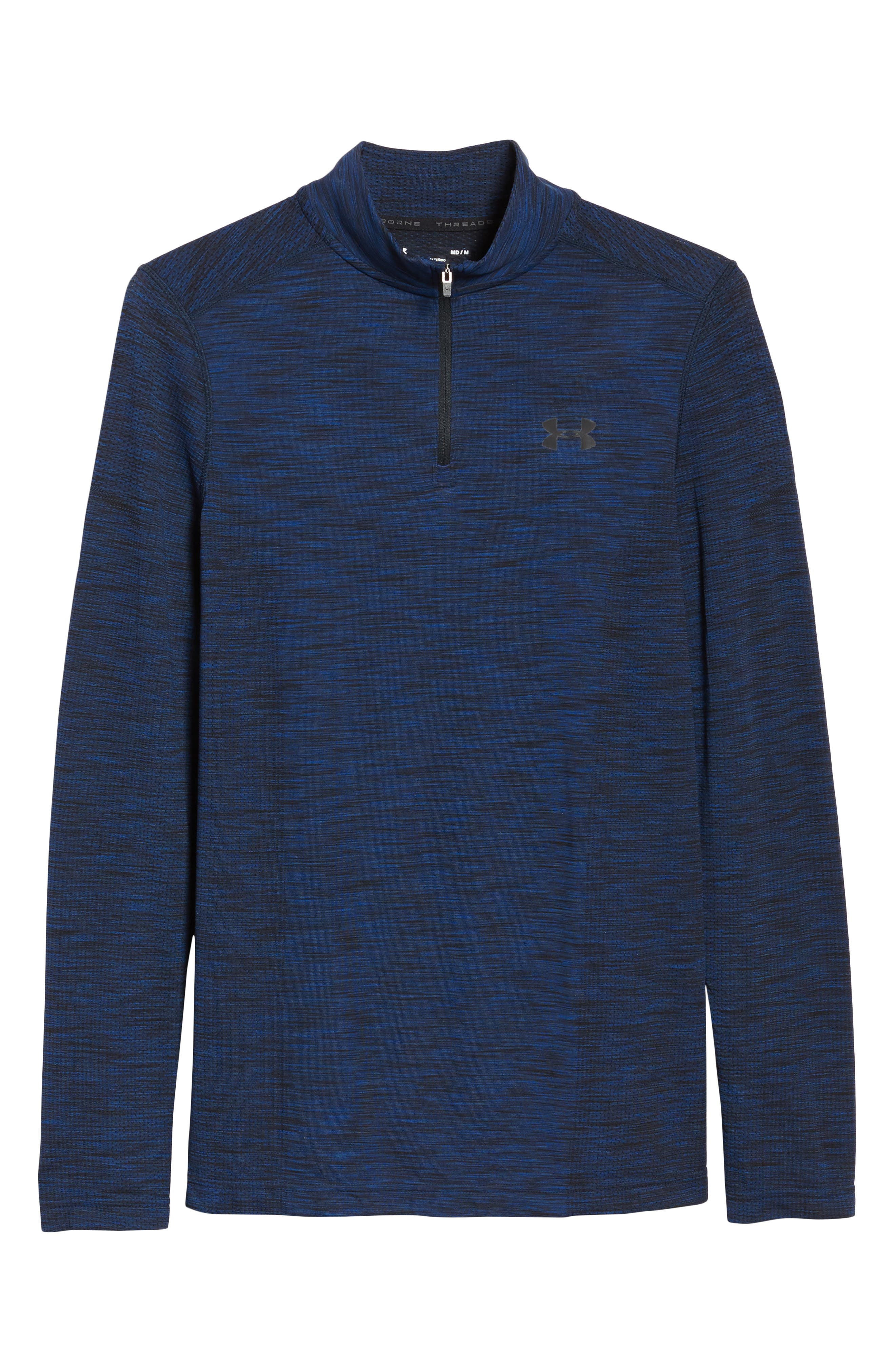 Threadborne Seamless Quarter Zip Pullover,                             Alternate thumbnail 6, color,                             Blue