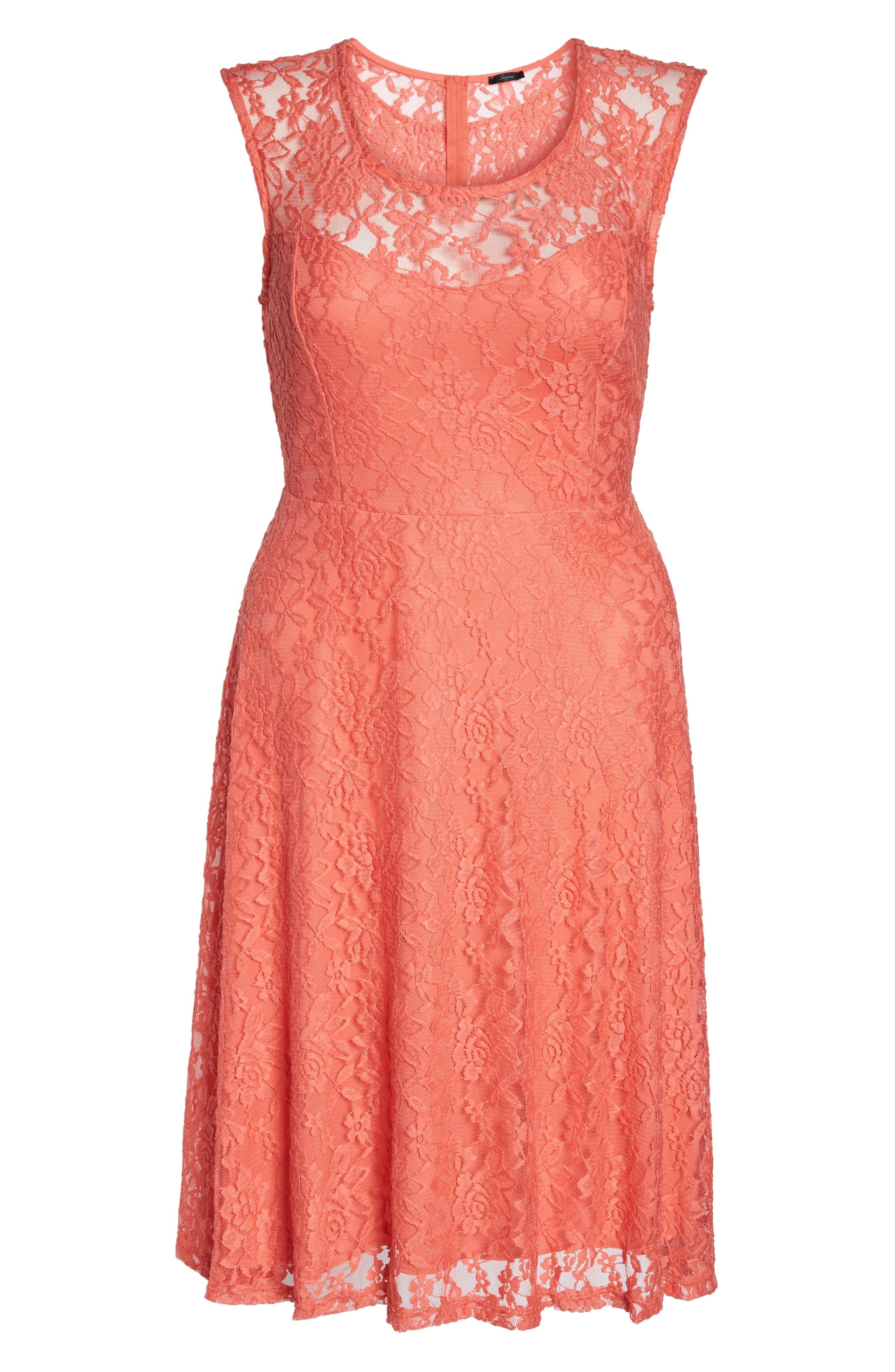 Lace Skater Dress,                             Alternate thumbnail 6, color,                             Coral