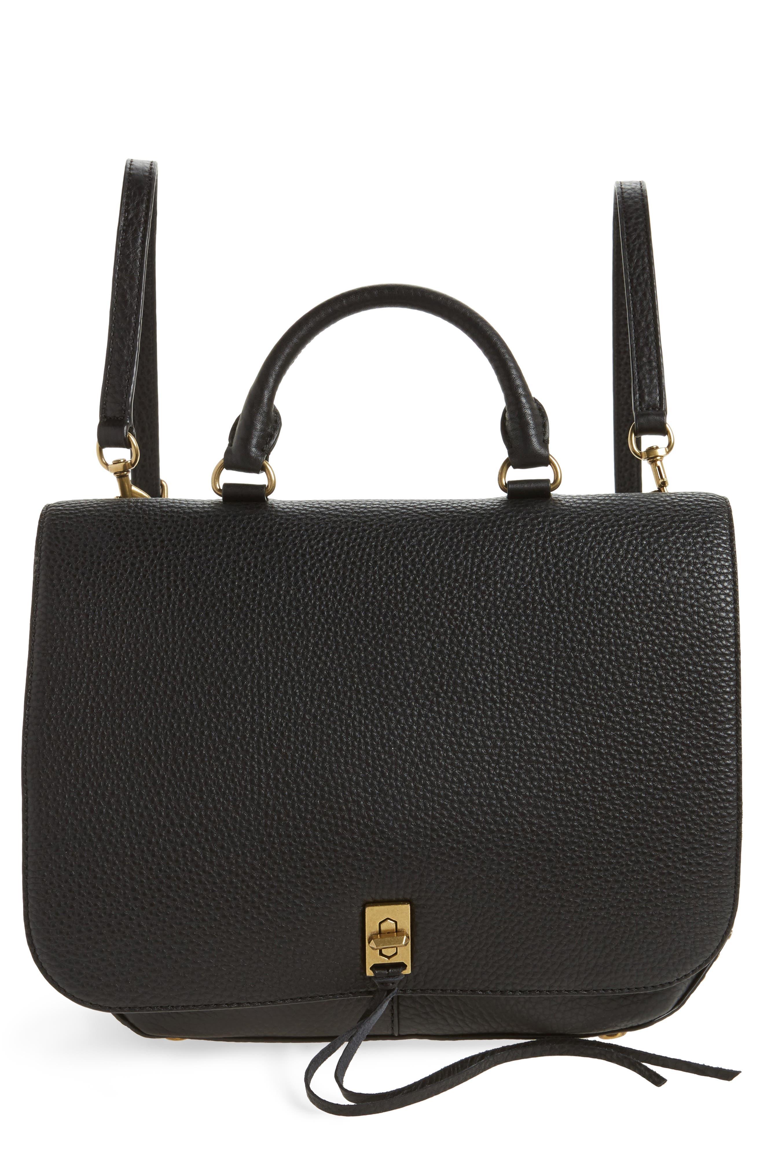 Darren Convertible Leather Backpack,                             Main thumbnail 1, color,                             Black