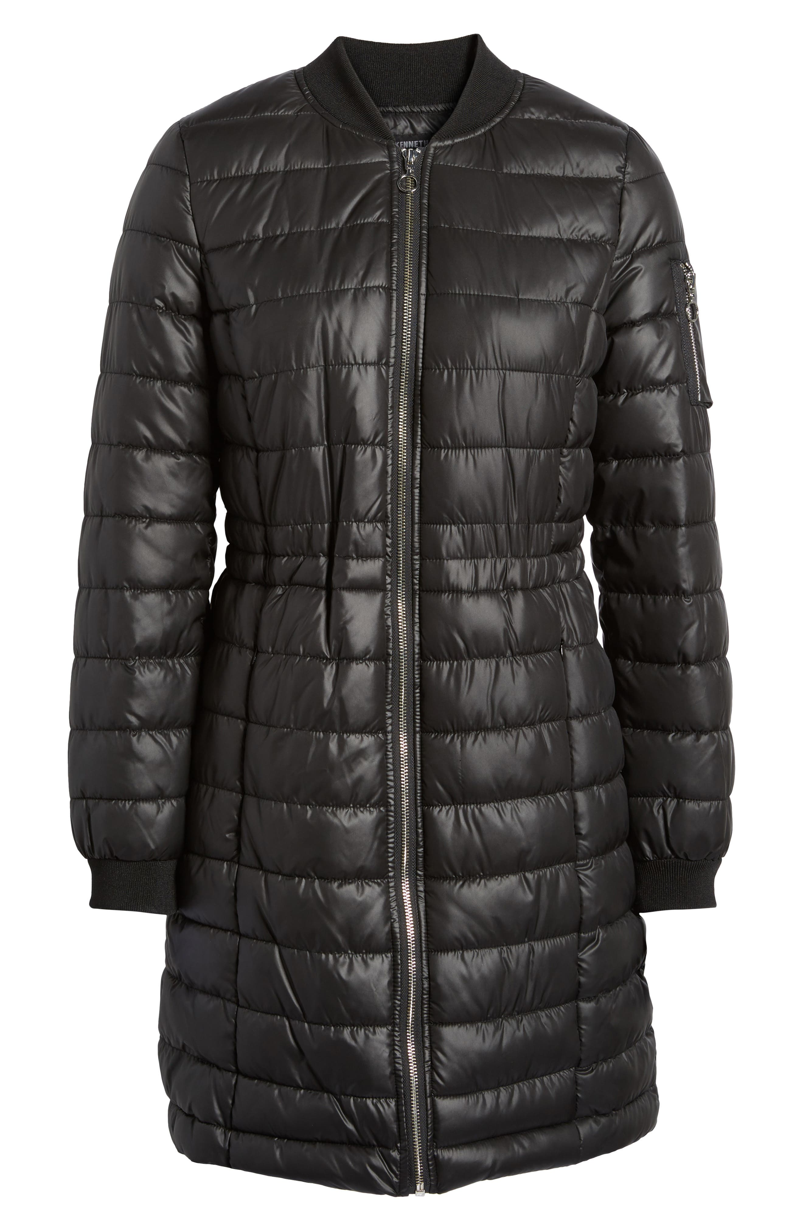 Lightweight Quilted Puffer Coat,                             Alternate thumbnail 5, color,                             Black