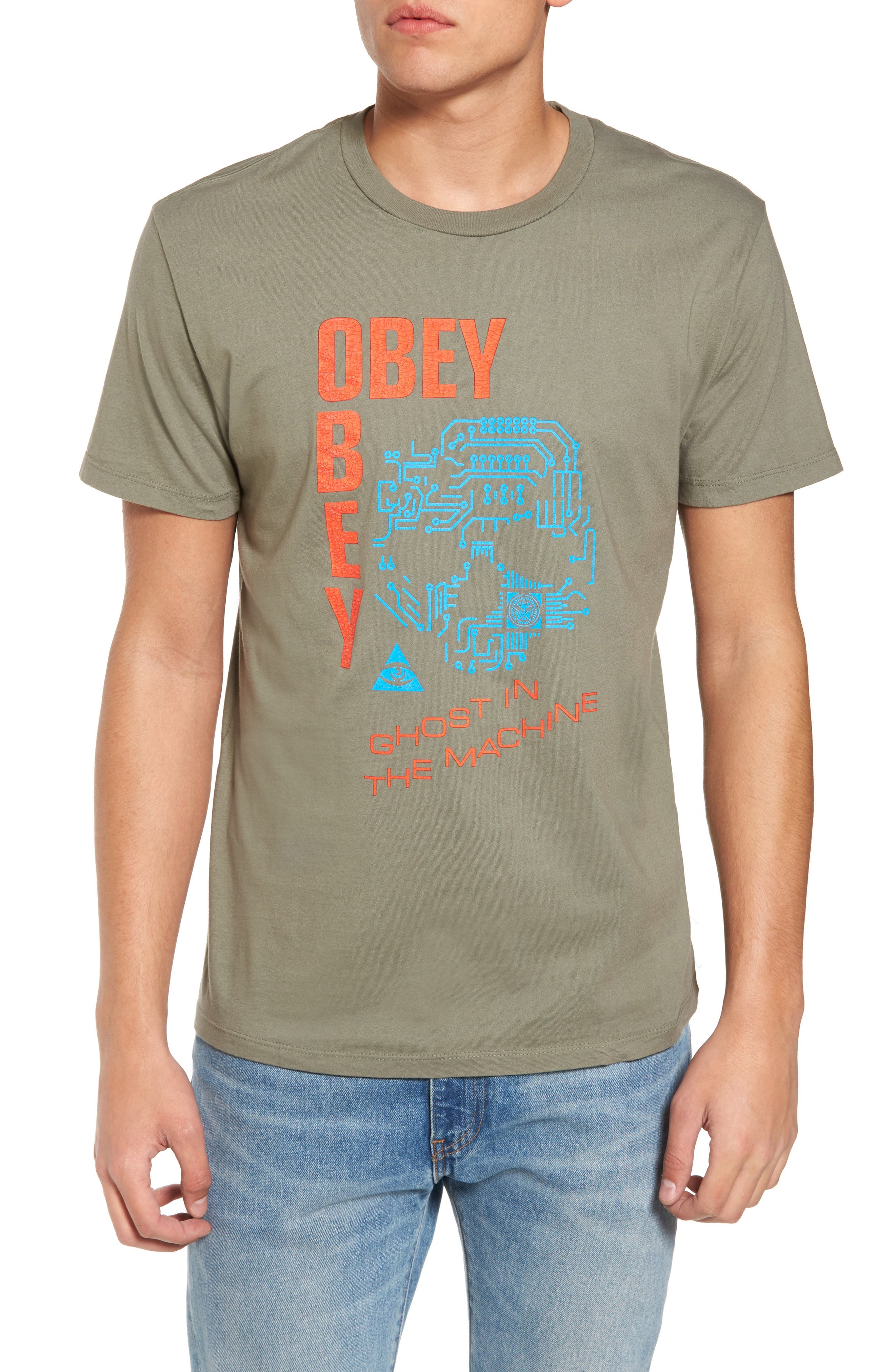 Ghost in the Machine Graphic T-Shirt,                         Main,                         color, Dusty Army
