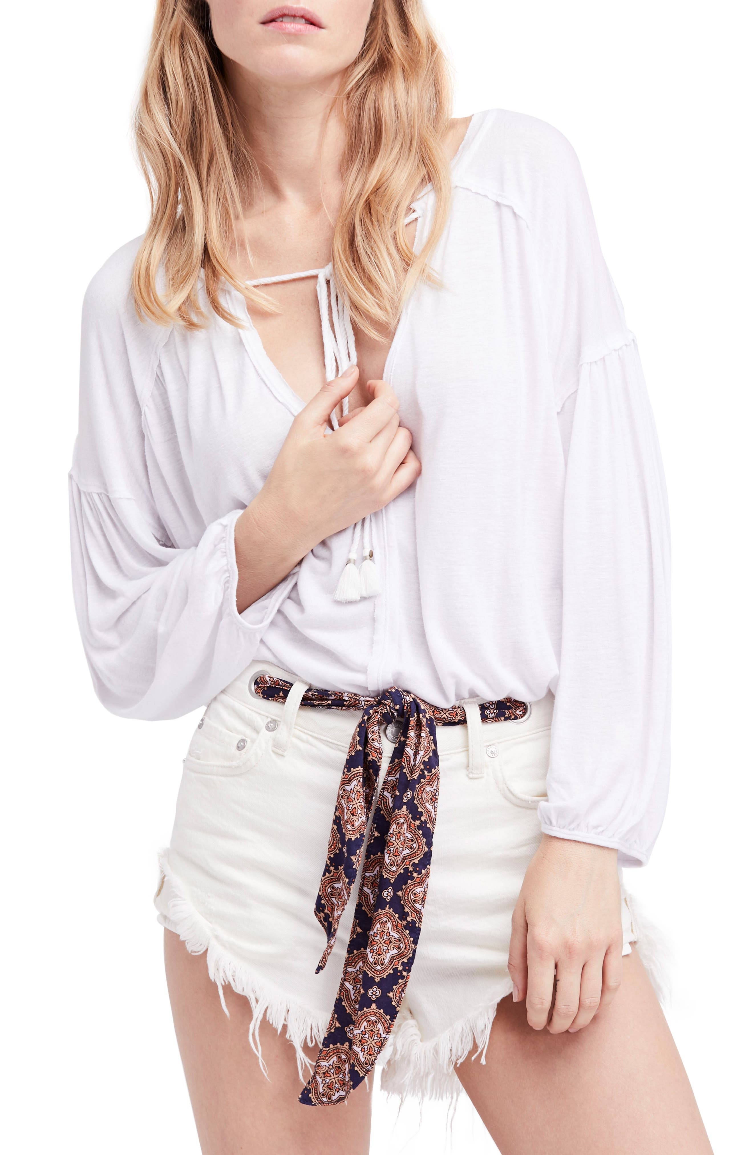 Just a Henley Top,                             Main thumbnail 1, color,                             White