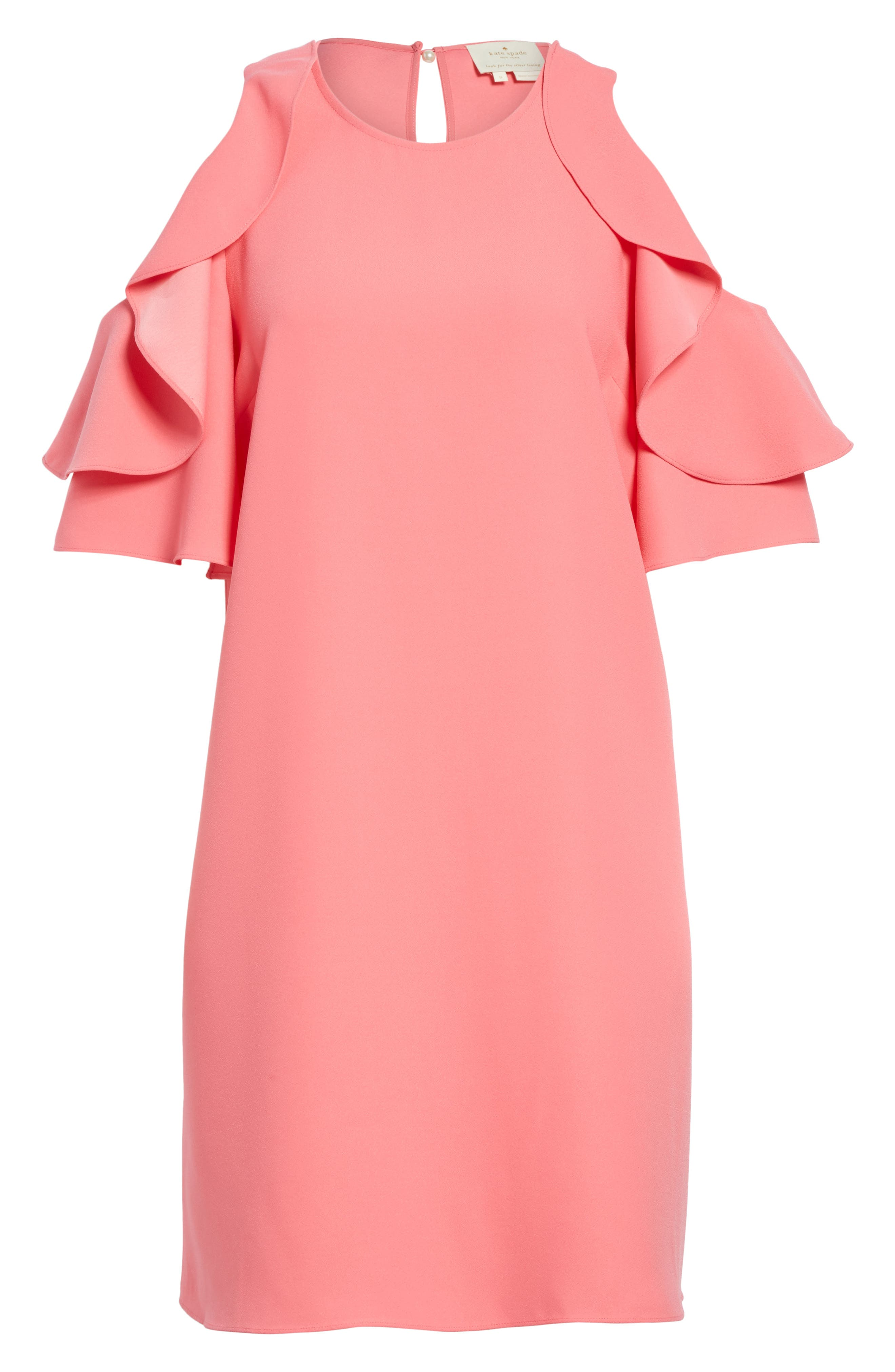 cold shoulder shift dress,                             Alternate thumbnail 6, color,                             Petunia