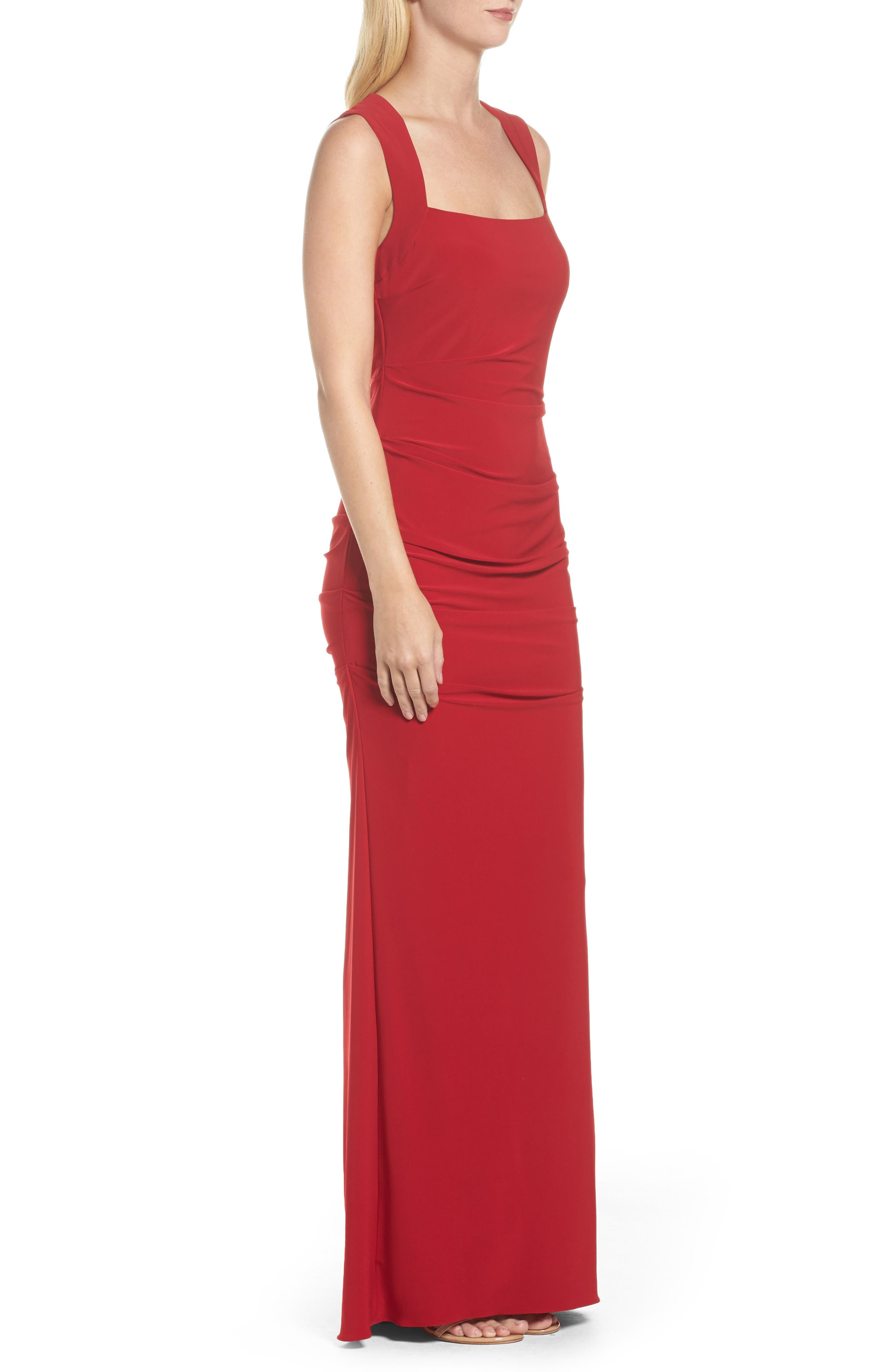 Square Neck Ruched Gown,                             Alternate thumbnail 3, color,                             Cardinal