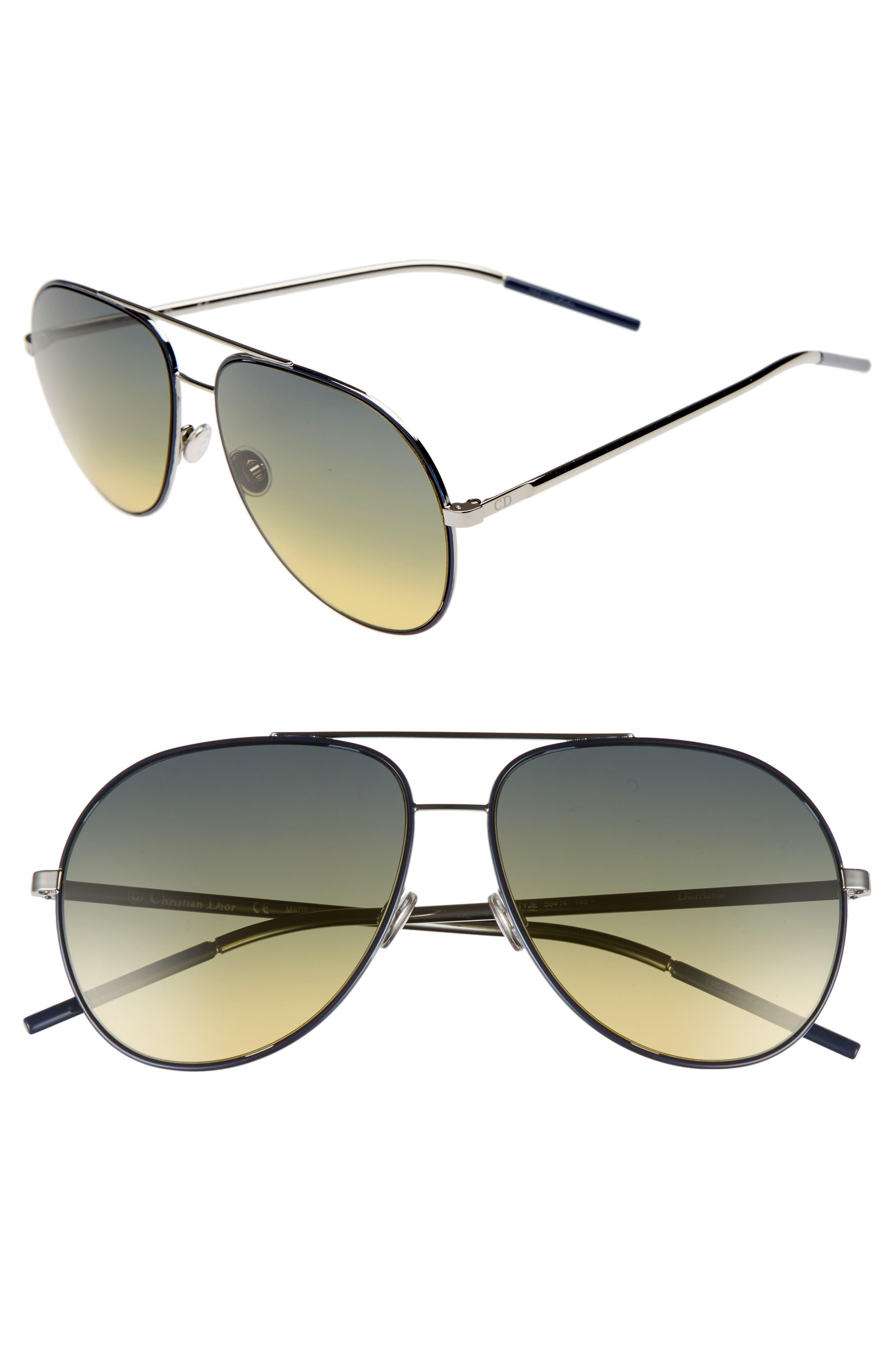 Astrals 59mm Aviator Sunglasses,                             Main thumbnail 1, color,                             Blue Ruthenium