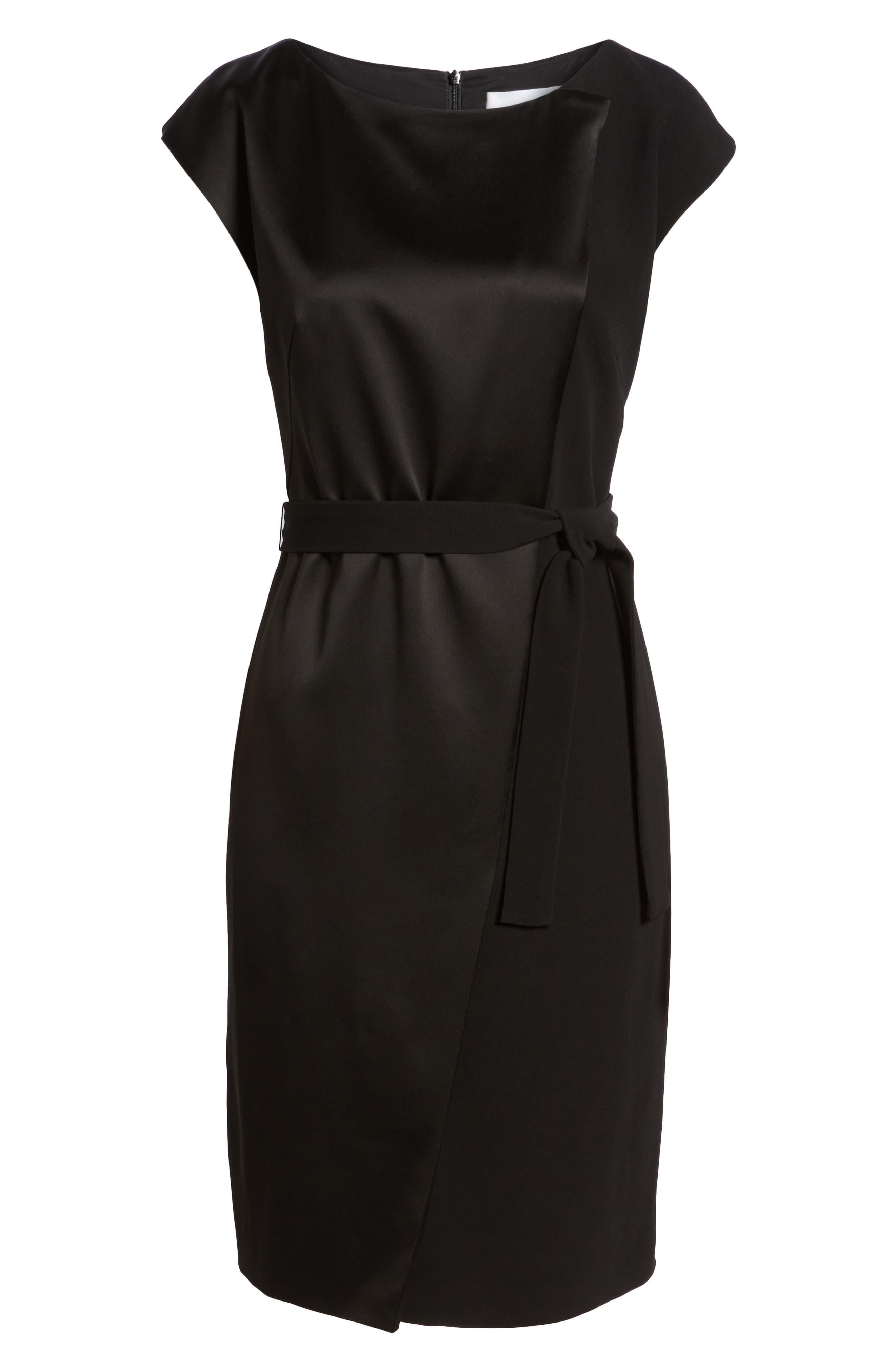 Drapena Faux Wrap Sheath Dress,                             Alternate thumbnail 6, color,                             Black