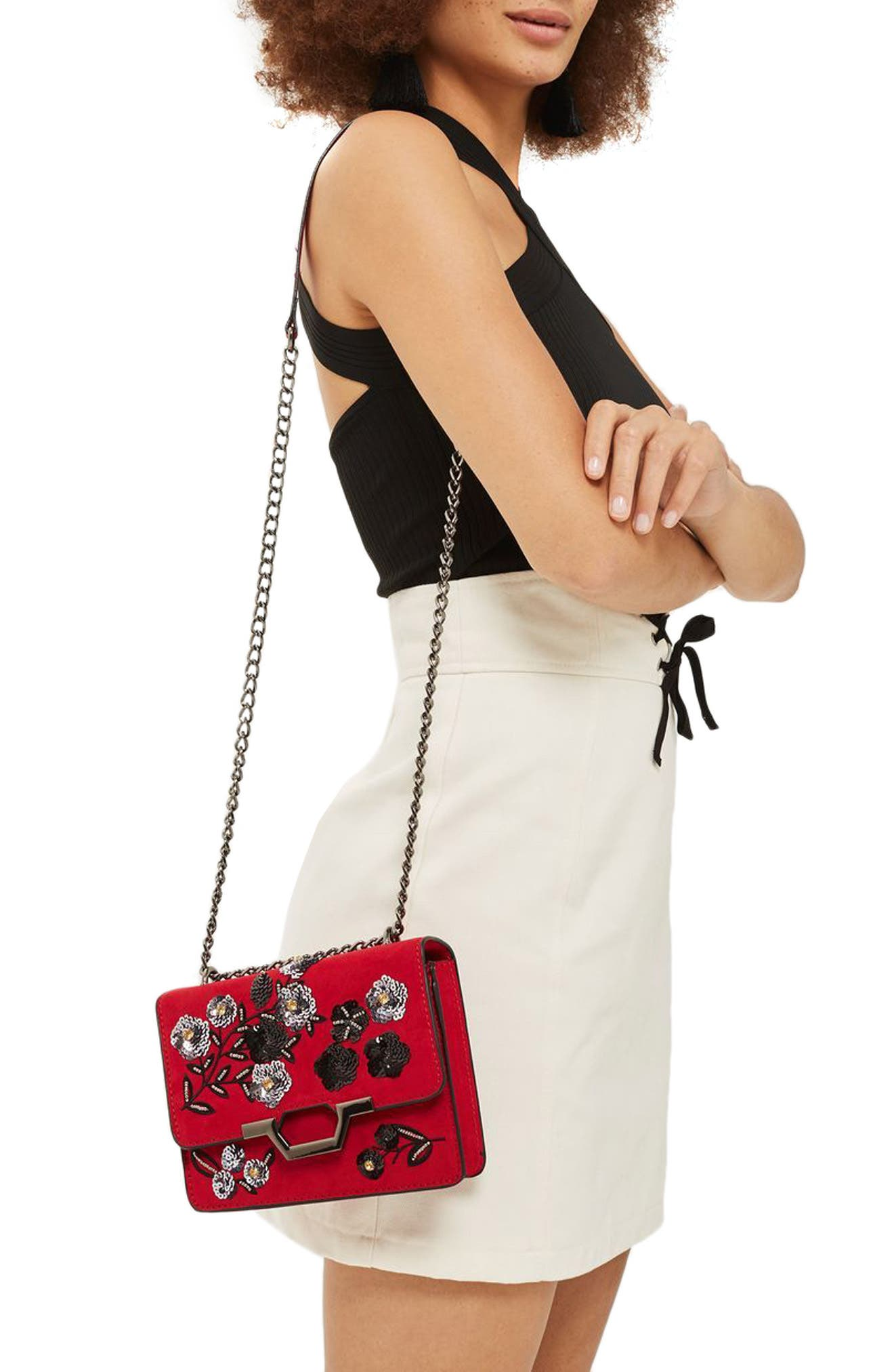 Alternate Image 2  - Topshop Kylie Embellished Faux Suede Crossbody Bag