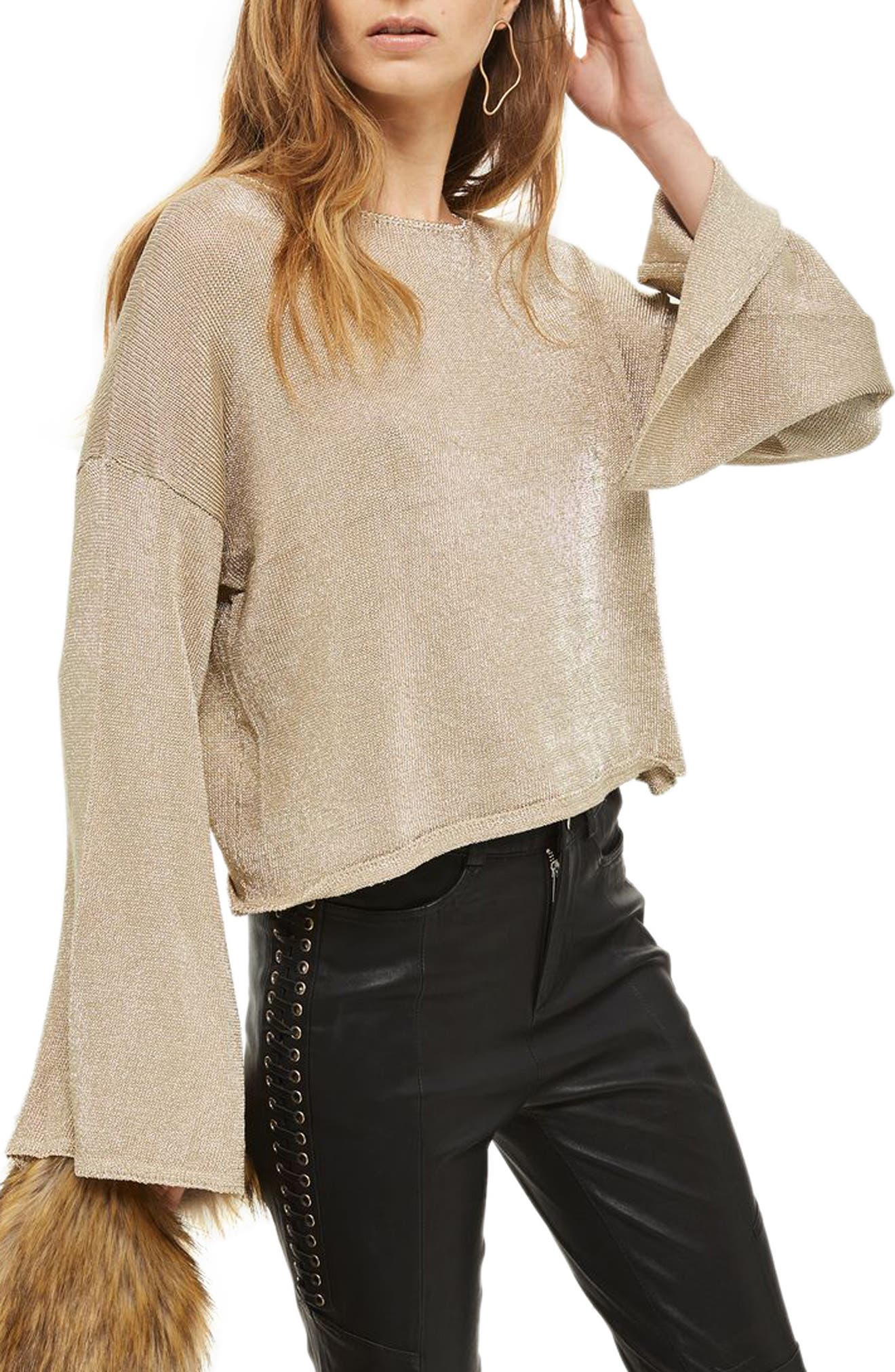 Metallic Flute Sleeve Crop Sweater,                         Main,                         color, Gold