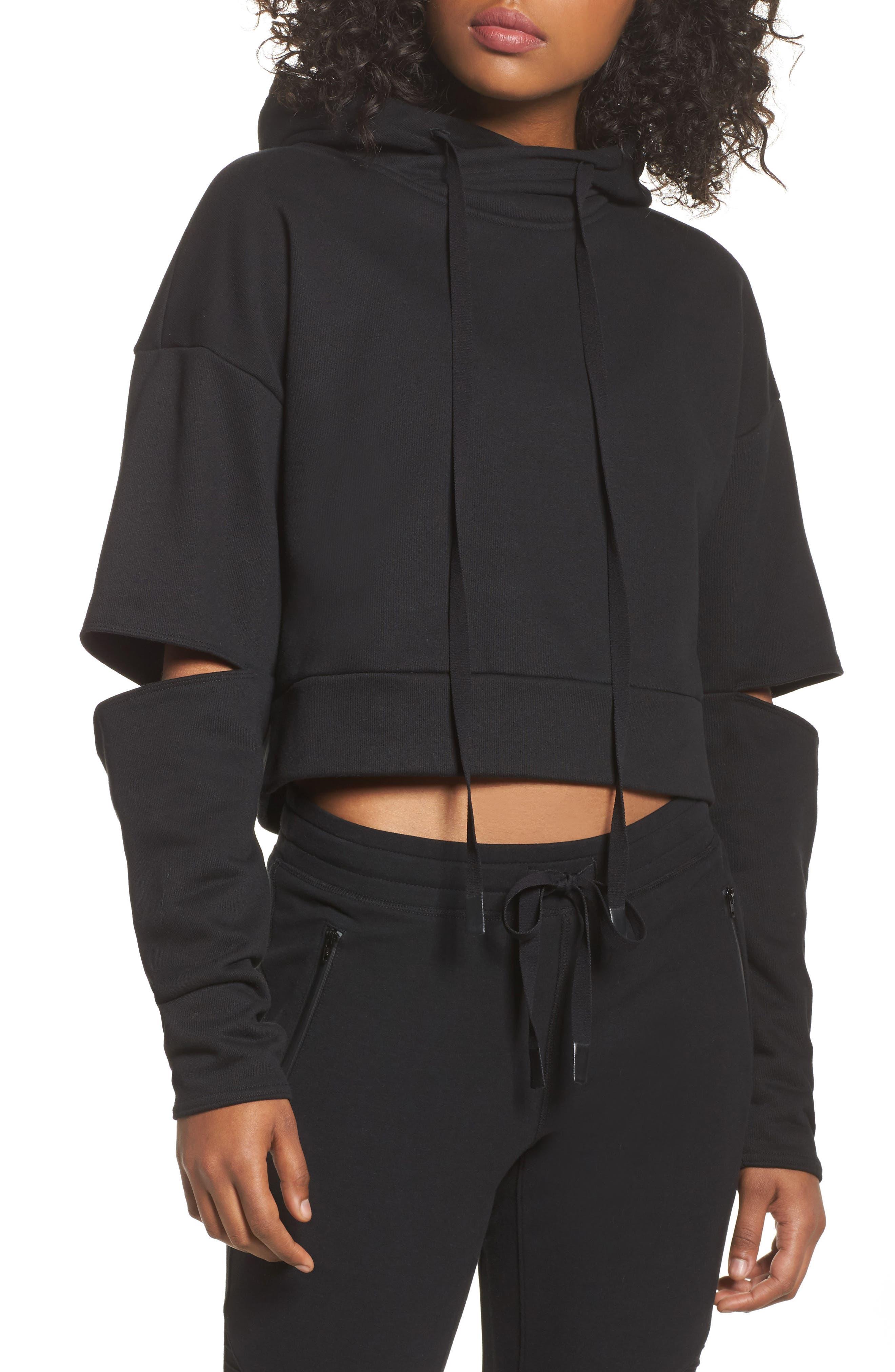 Peak Cutout Long Sleeve Pullover Crop Hoodie,                             Main thumbnail 1, color,                             Black
