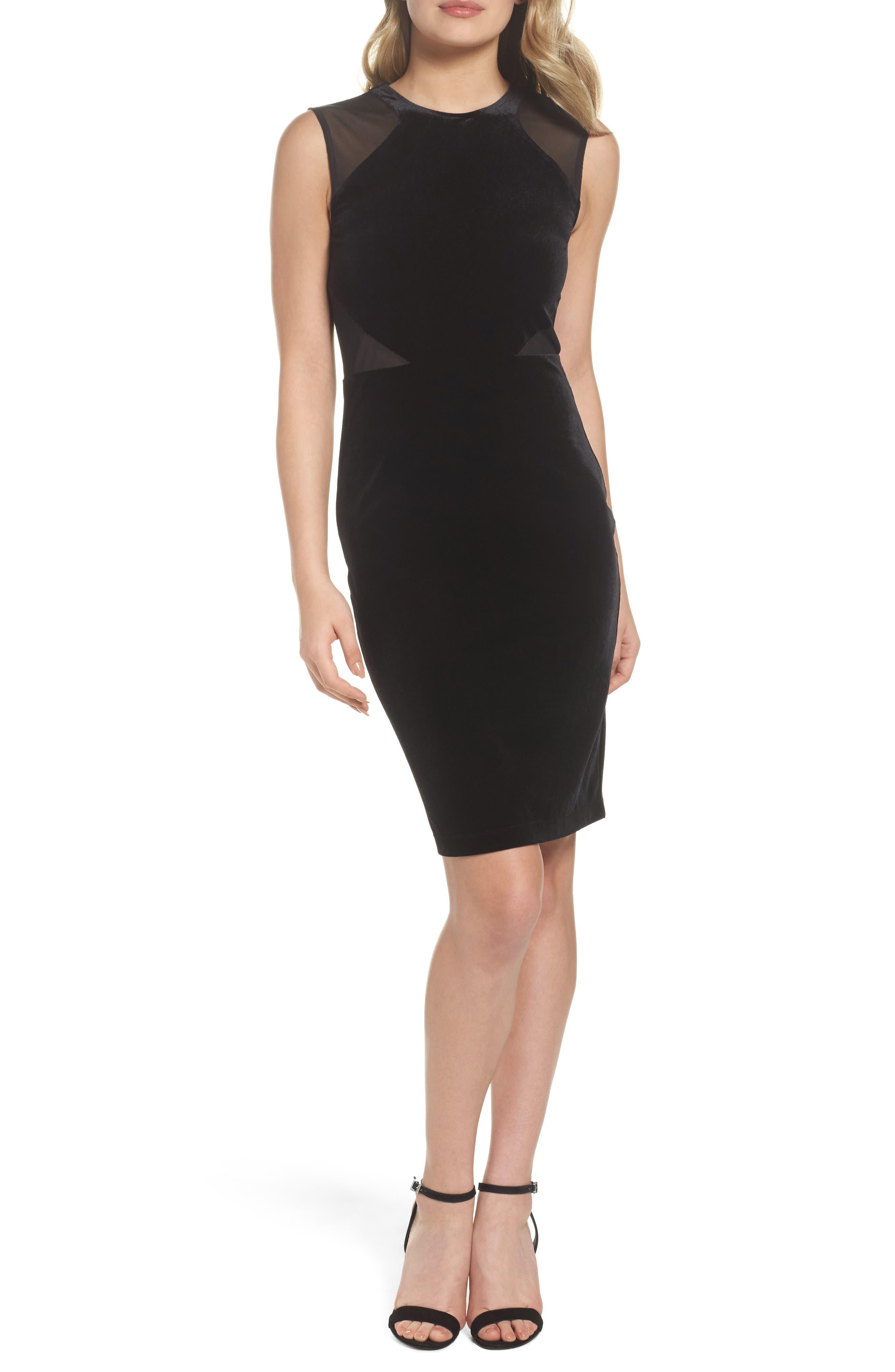 Viven Velvet Body-Con Dress,                             Main thumbnail 1, color,                             Black/ Black