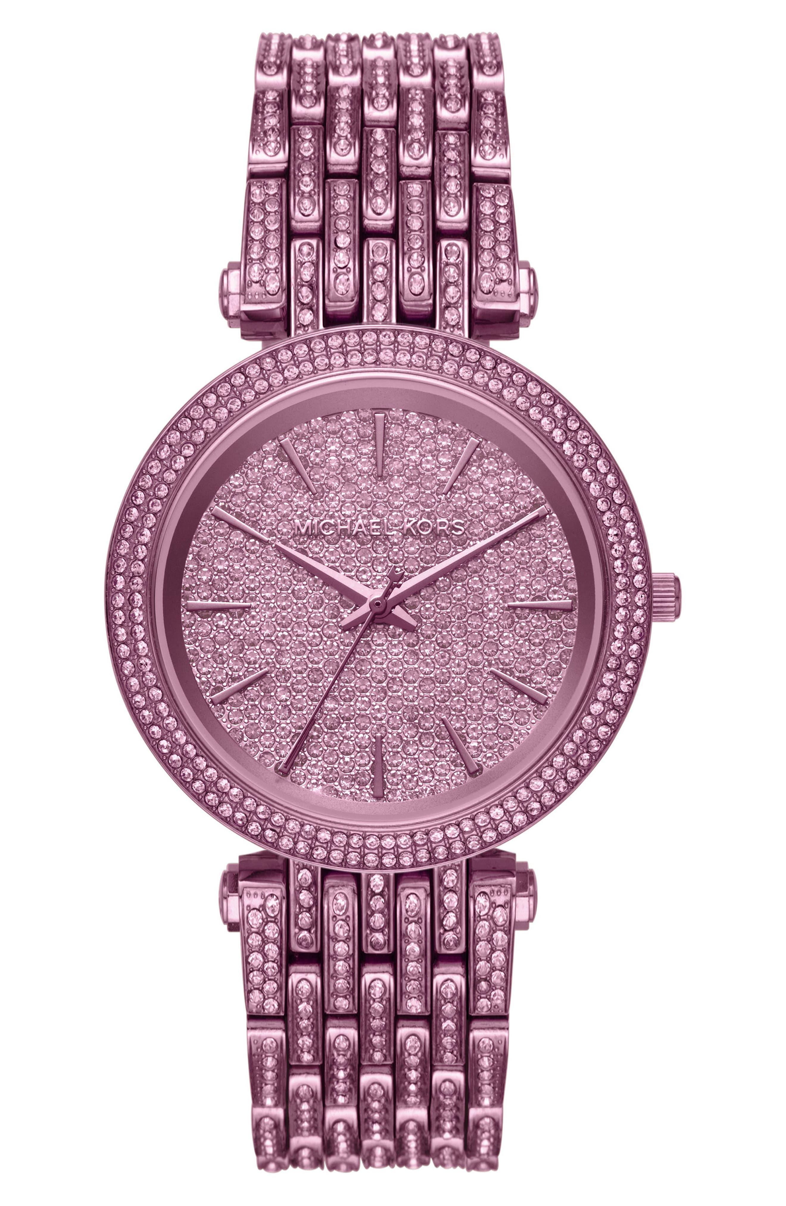 Darci Crystal Bezel Braclet Watch, 39mm,                             Main thumbnail 1, color,                             Purple