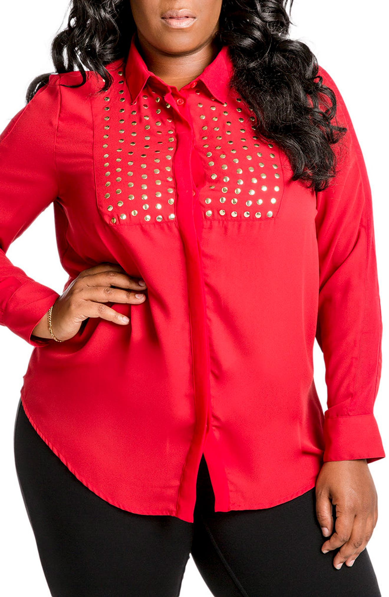 Denise Studded Georgette Blouse,                         Main,                         color, Wine