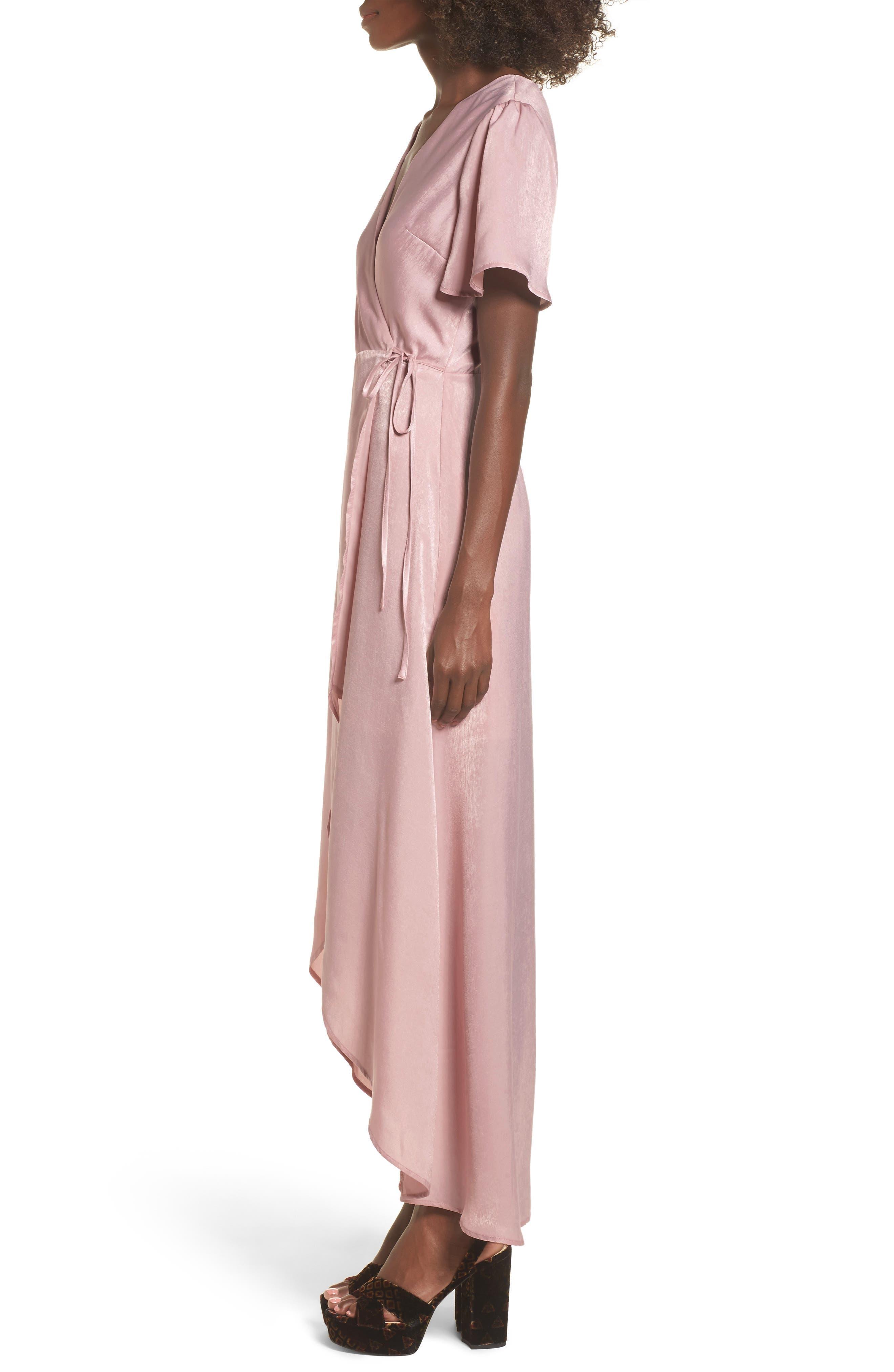 Wrap Maxi Dress,                             Alternate thumbnail 3, color,                             Ballet Pink