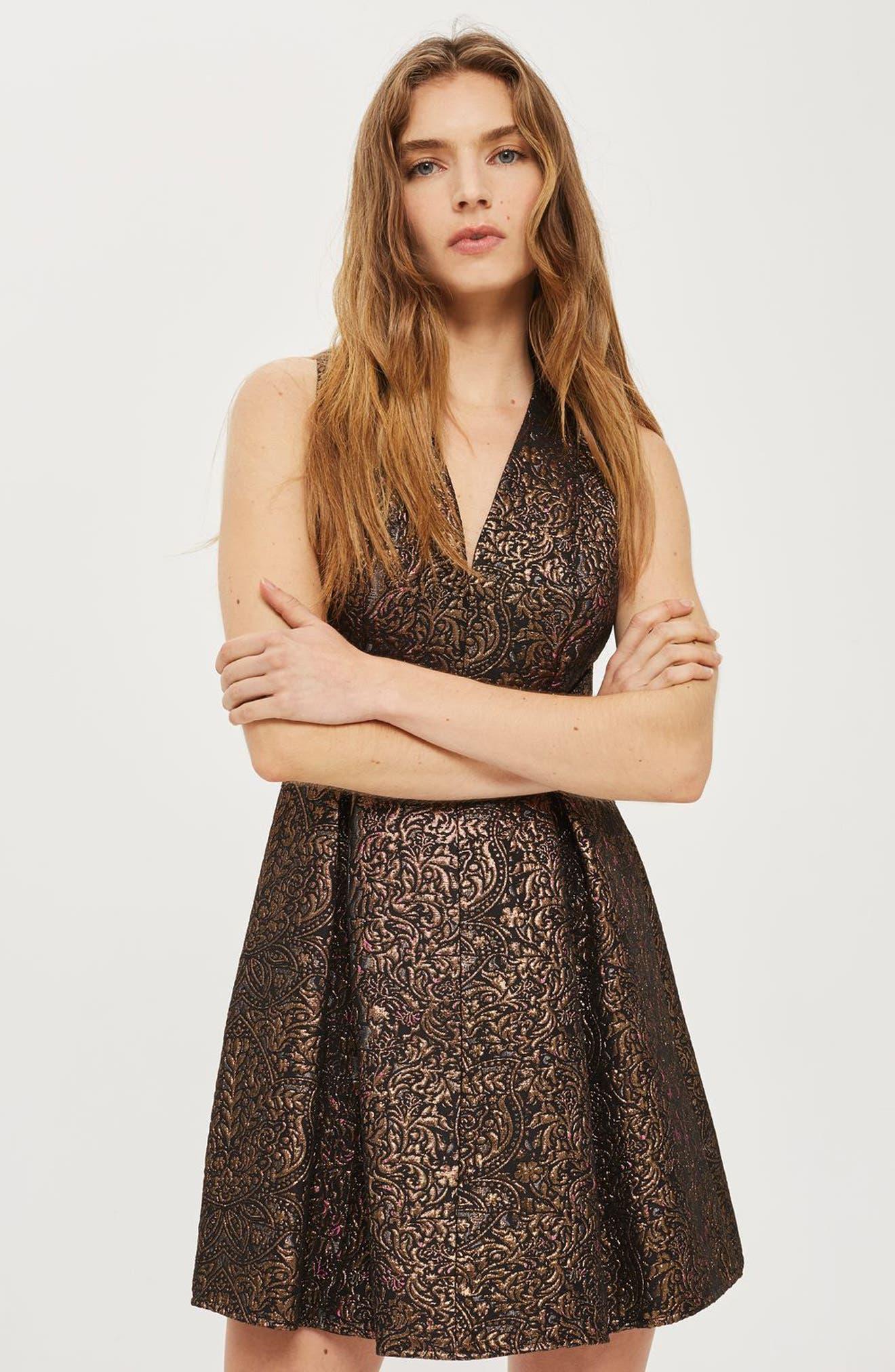 Alternate Image 4  - Topshop Opulent Jacquard Skater Dress