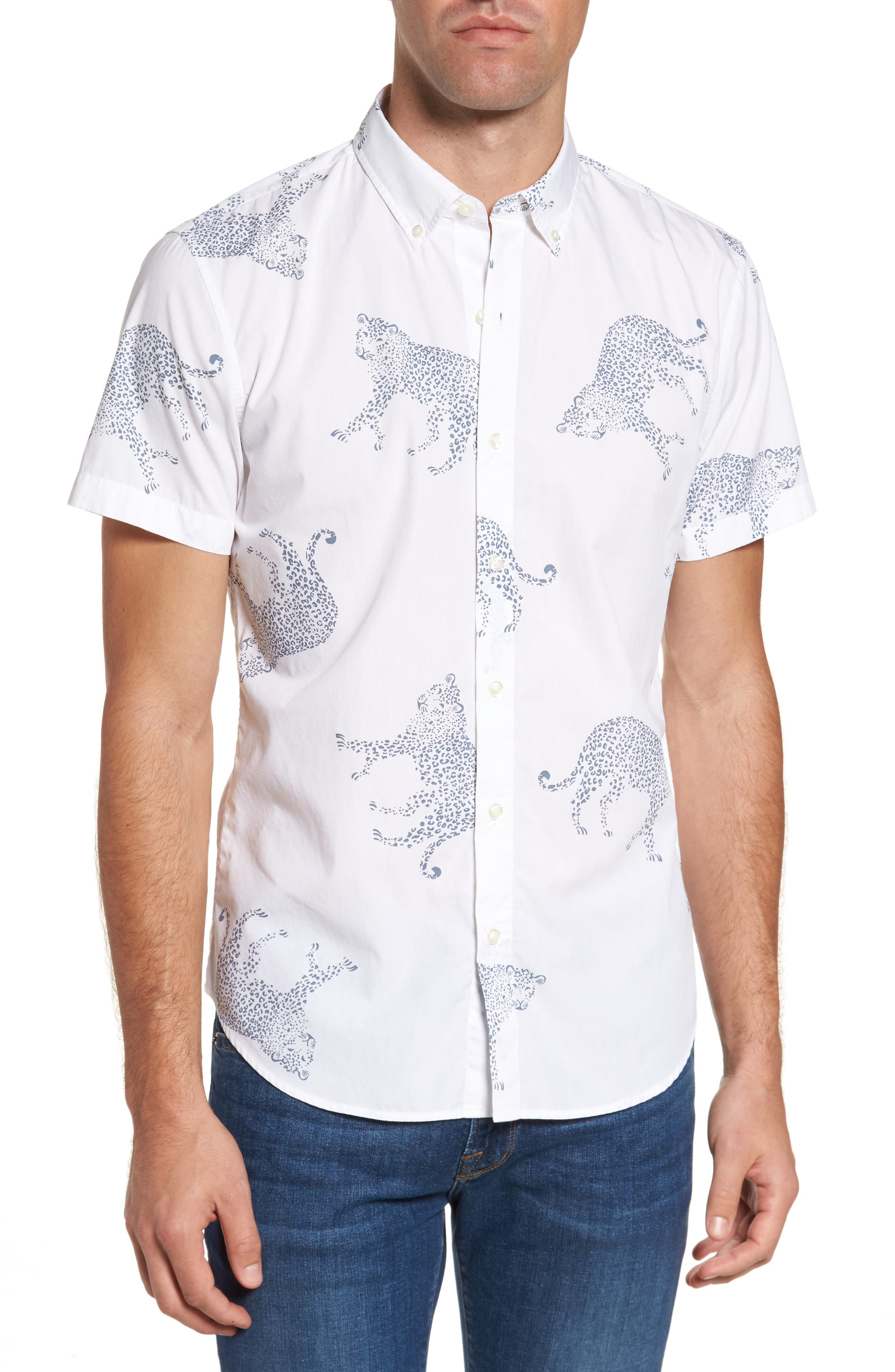 Alternate Image 1 Selected - Bonobos Slim Fit Cheetah Print Sport Shirt