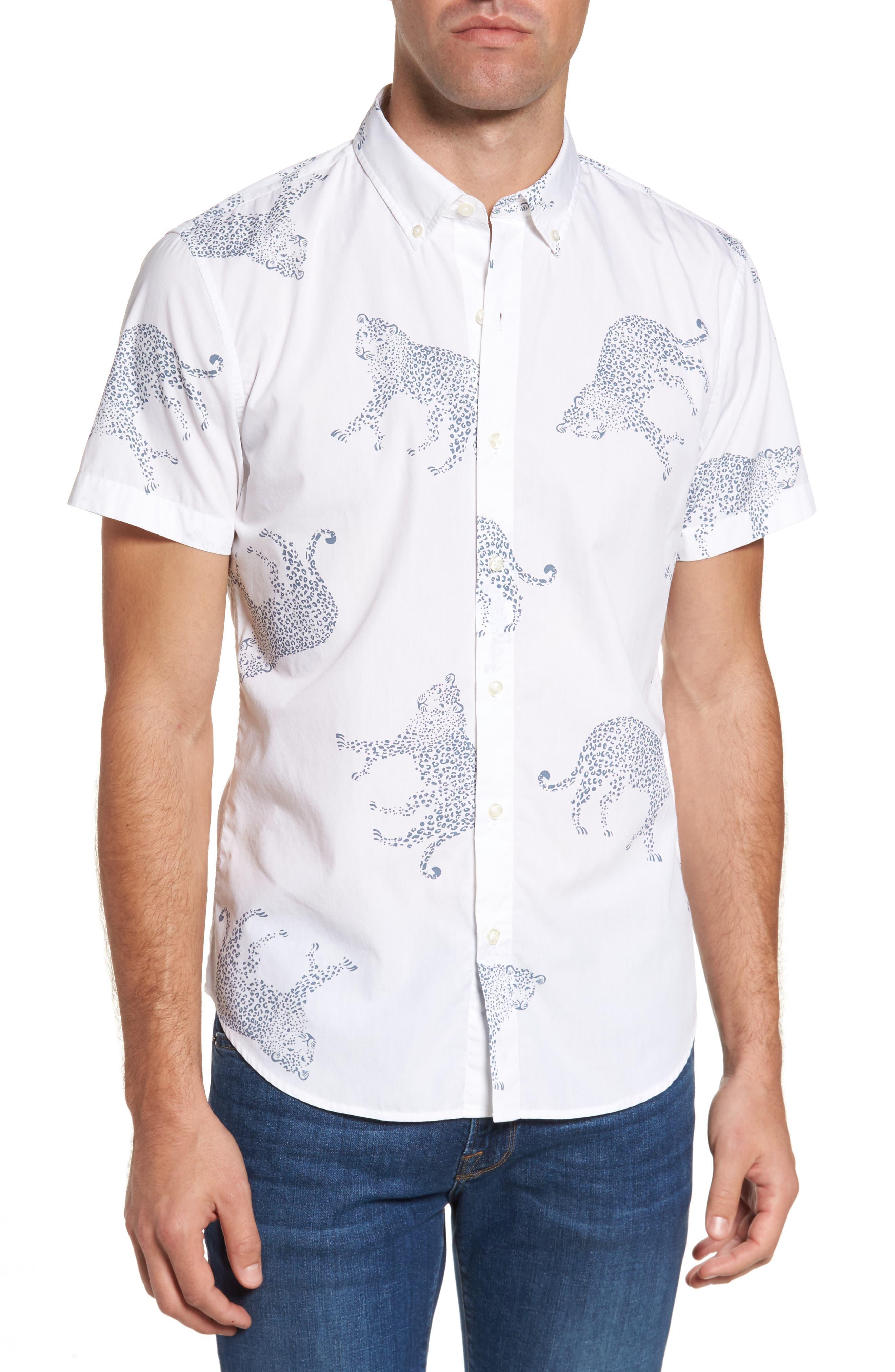 Slim Fit Cheetah Print Sport Shirt,                         Main,                         color, Cheetah Print