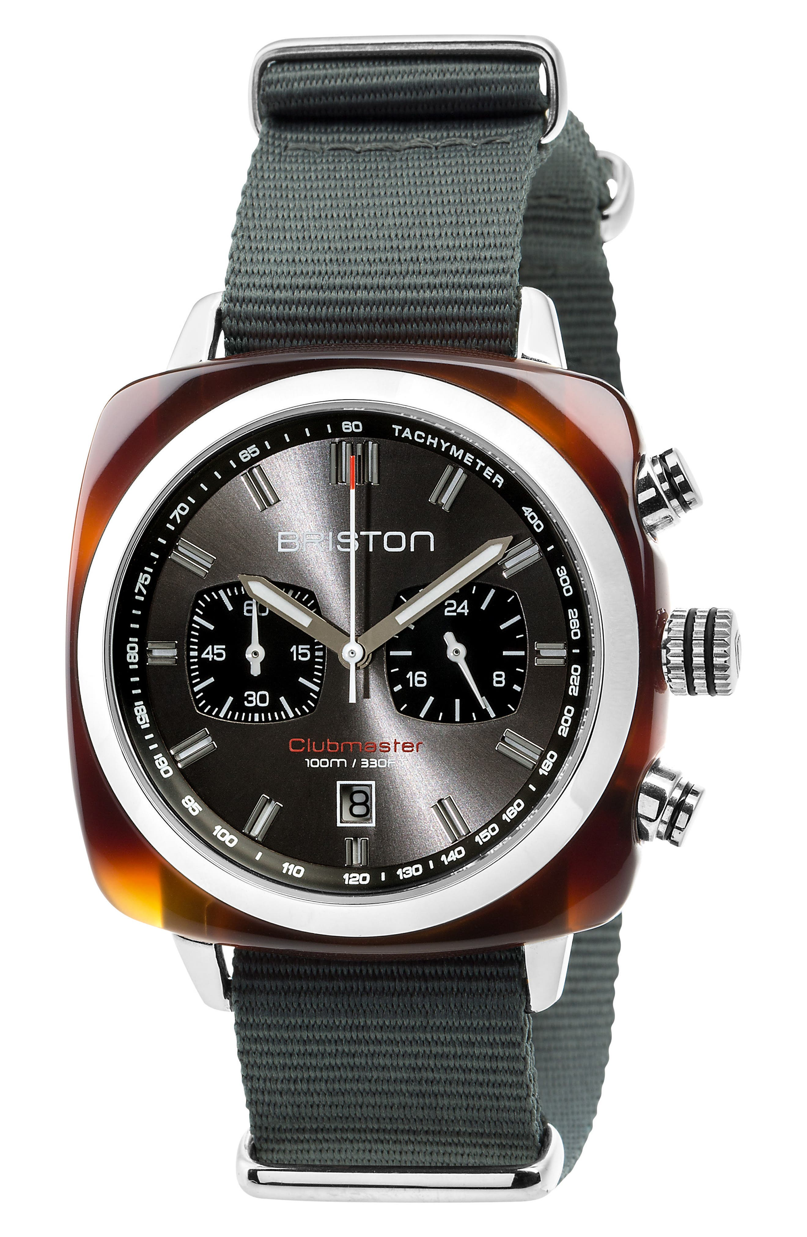 Clubmaster Sport Chronograph Nylon Strap Watch, 42mm,                         Main,                         color, Grey/ Tort Acetate
