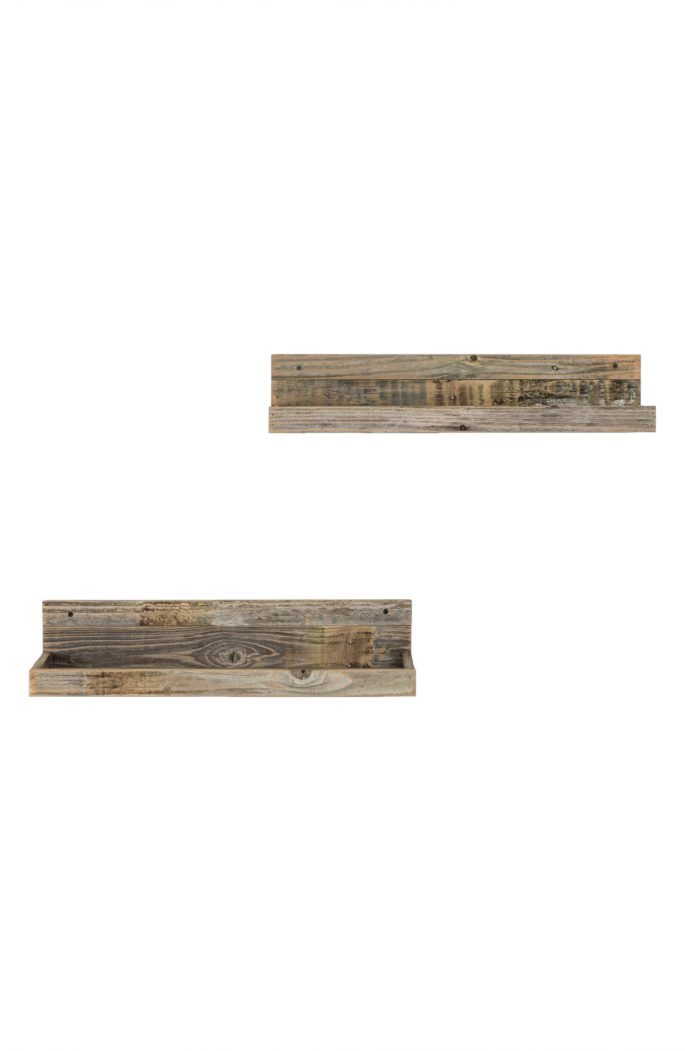 Set of 2 Floating Reclaimed Barnwood Shelves,                         Main,                         color, Natural