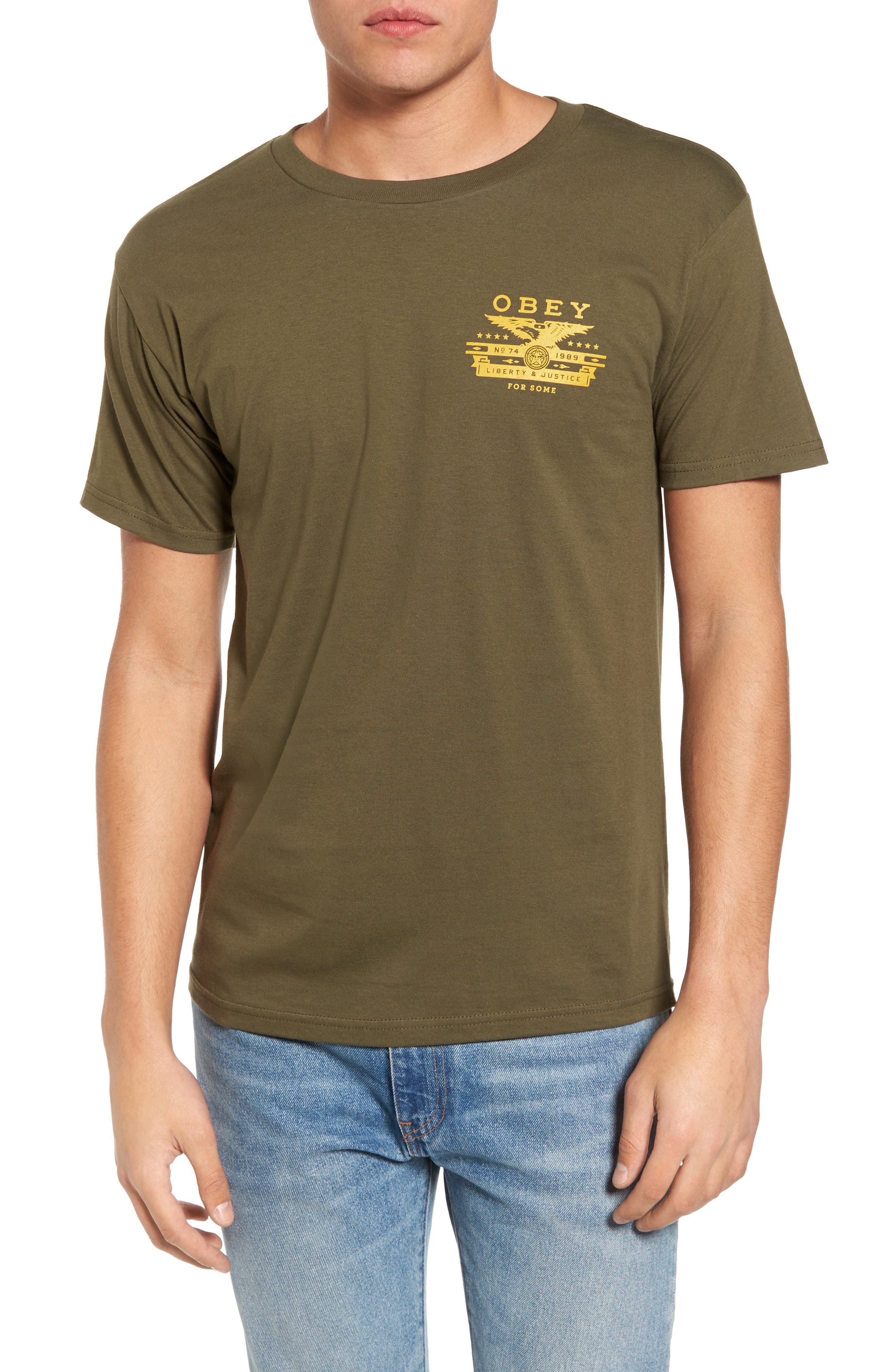 Dissent & Justice T-Shirt,                         Main,                         color, Military Olive