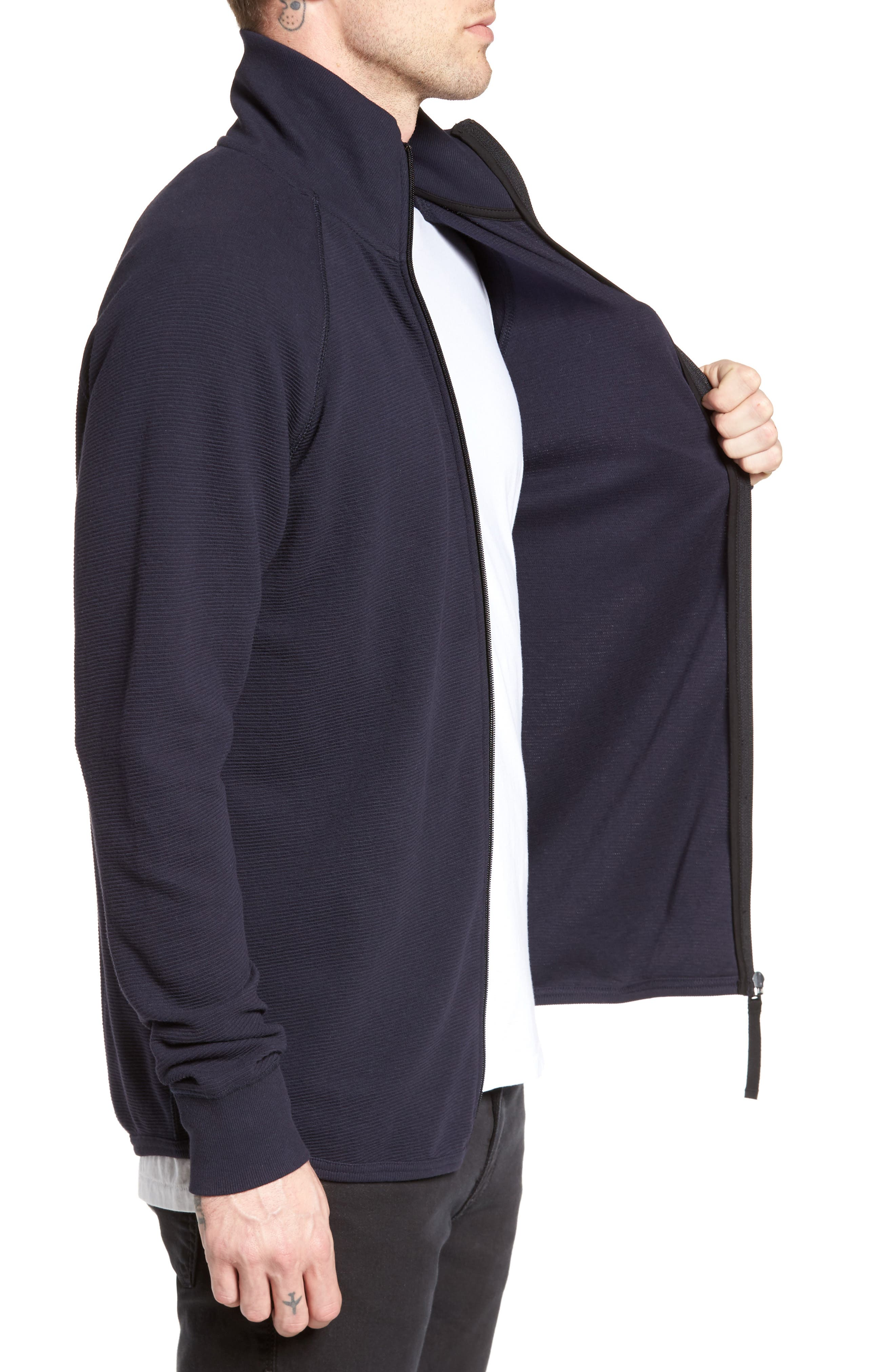 Jirgi Zip Front Jacket,                             Alternate thumbnail 3, color,                             Dark Naval Blue
