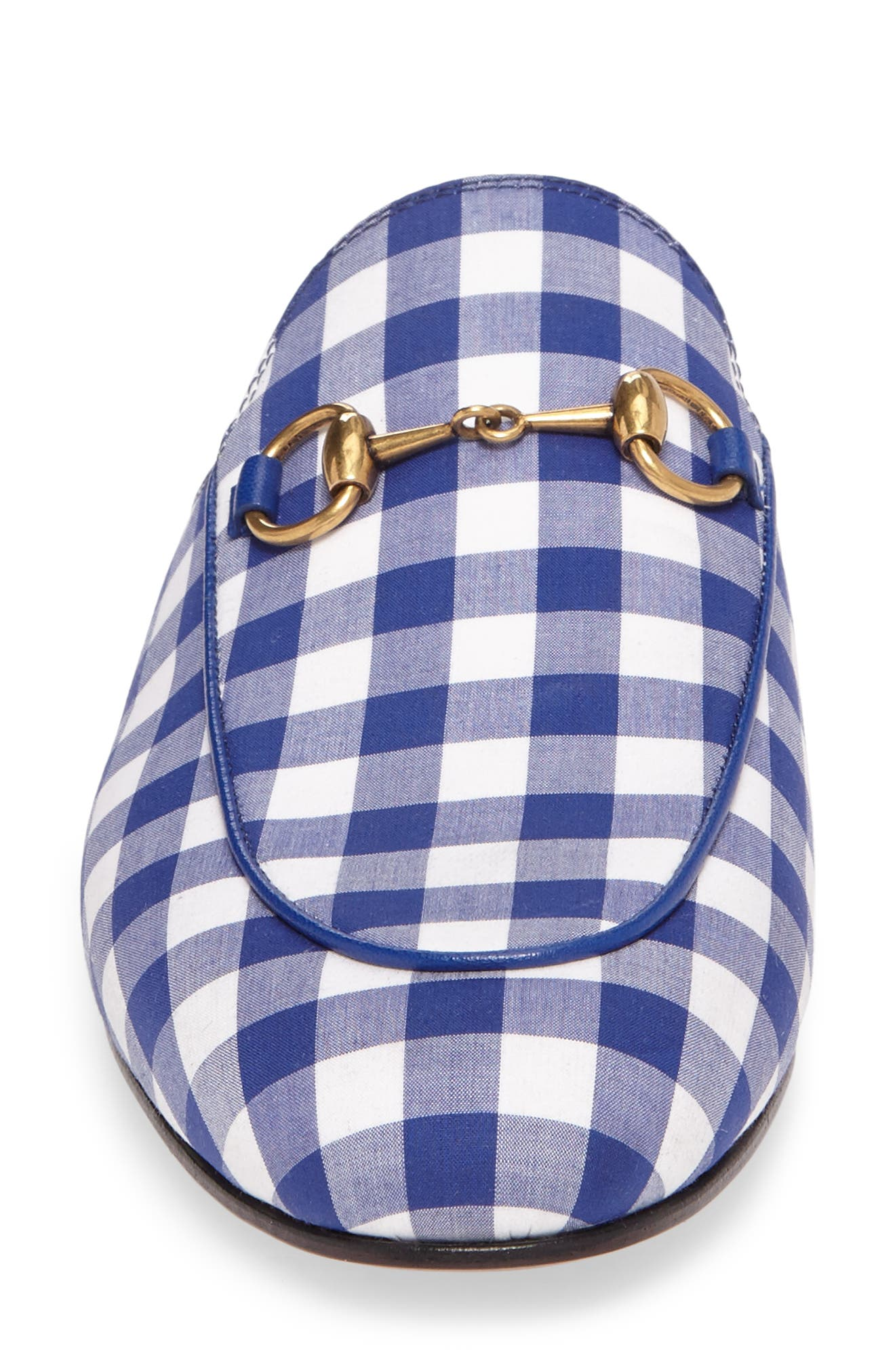 Princetown Gingham Loafer Mule,                             Alternate thumbnail 4, color,                             White/ Electric Blue
