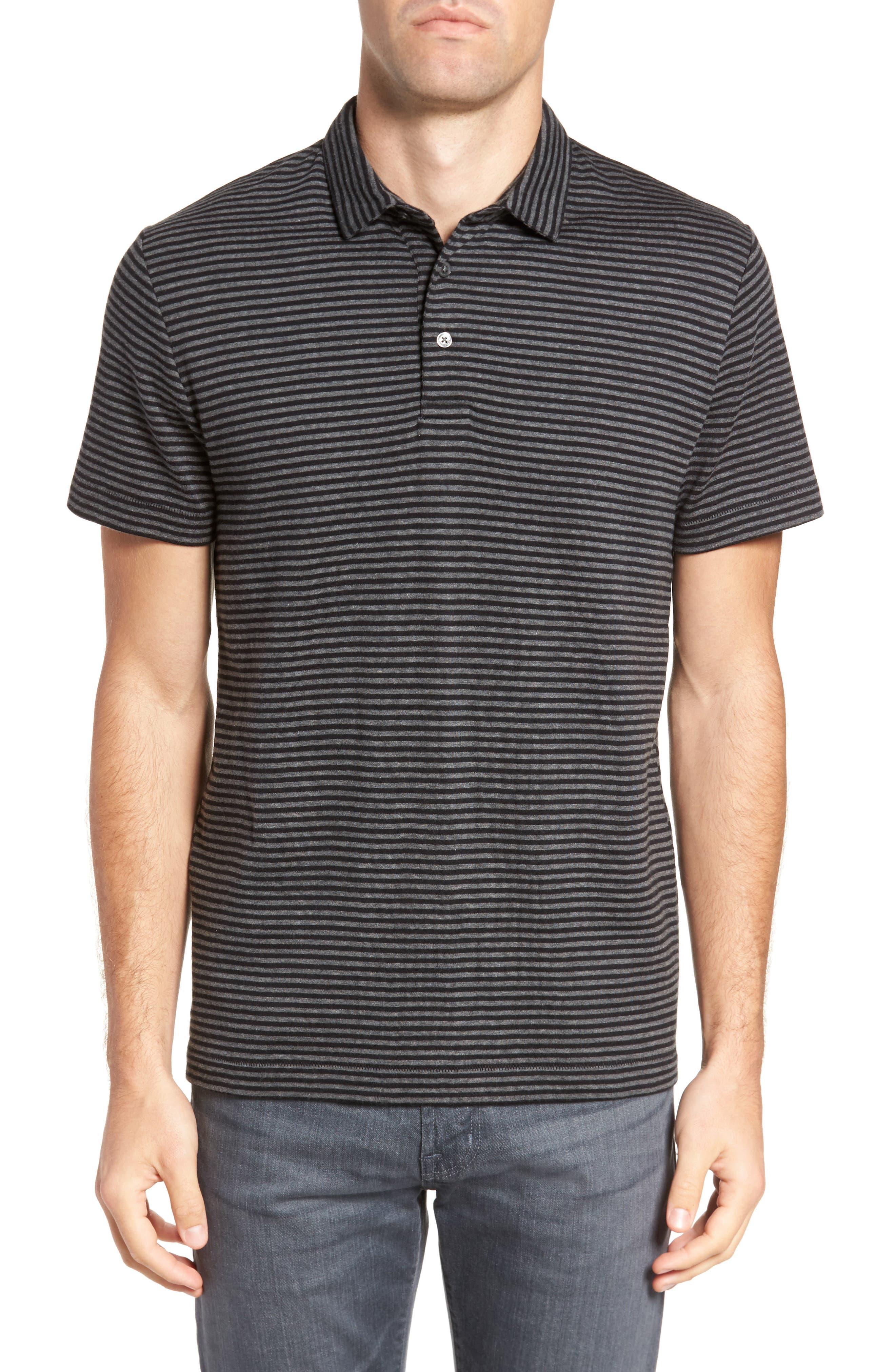 Alternative Stripe Short Sleeve Polo,                             Main thumbnail 1, color,                             Charcoal Melange/ Black